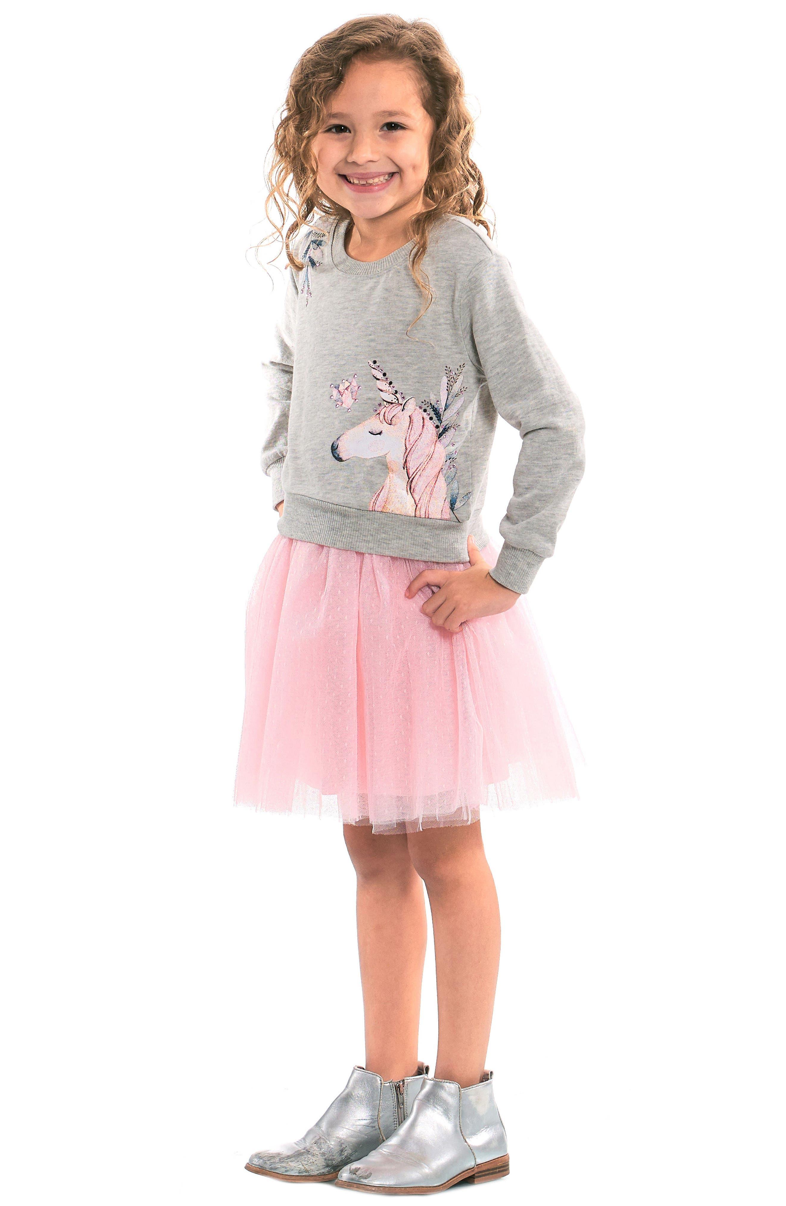 Unicorn Sweatshirt & Tutu Dress Set,                             Alternate thumbnail 2, color,                             069