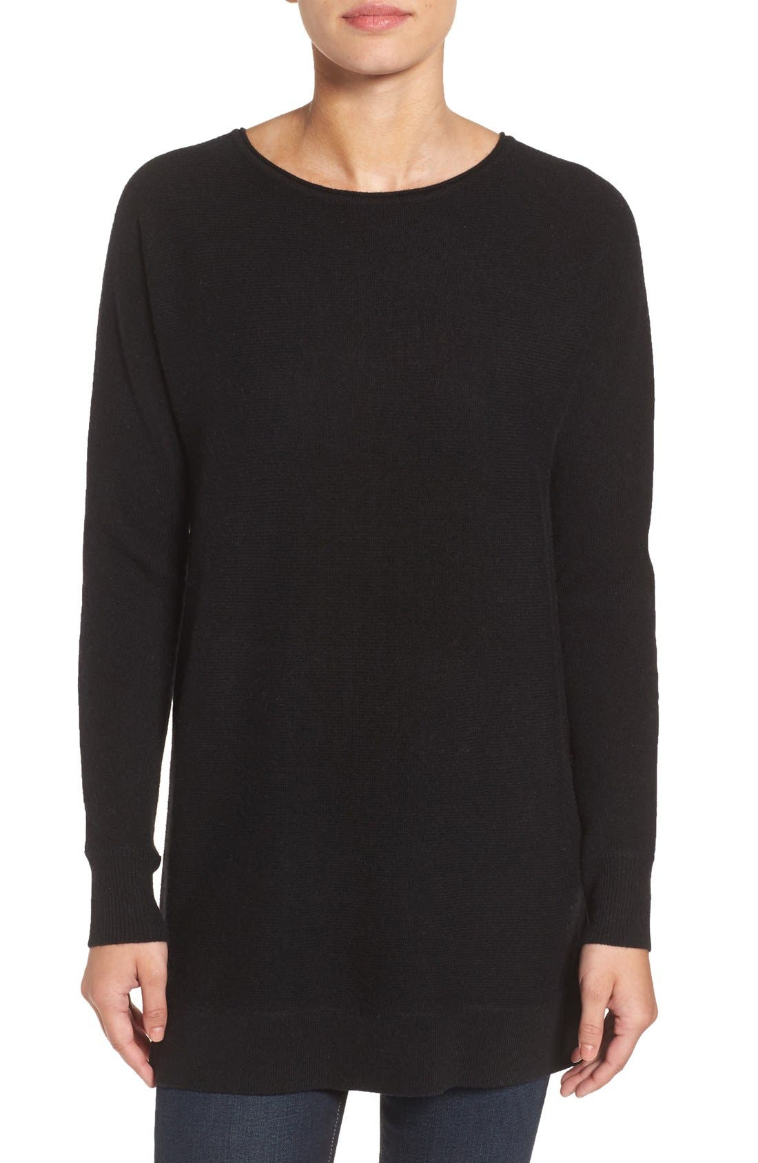 High/Low Wool & Cashmere Tunic Sweater,                         Main,                         color,