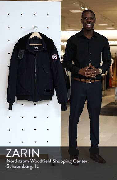 Bromley Slim Fit Down Bomber Jacket with Genuine Shearling Collar, sales video thumbnail
