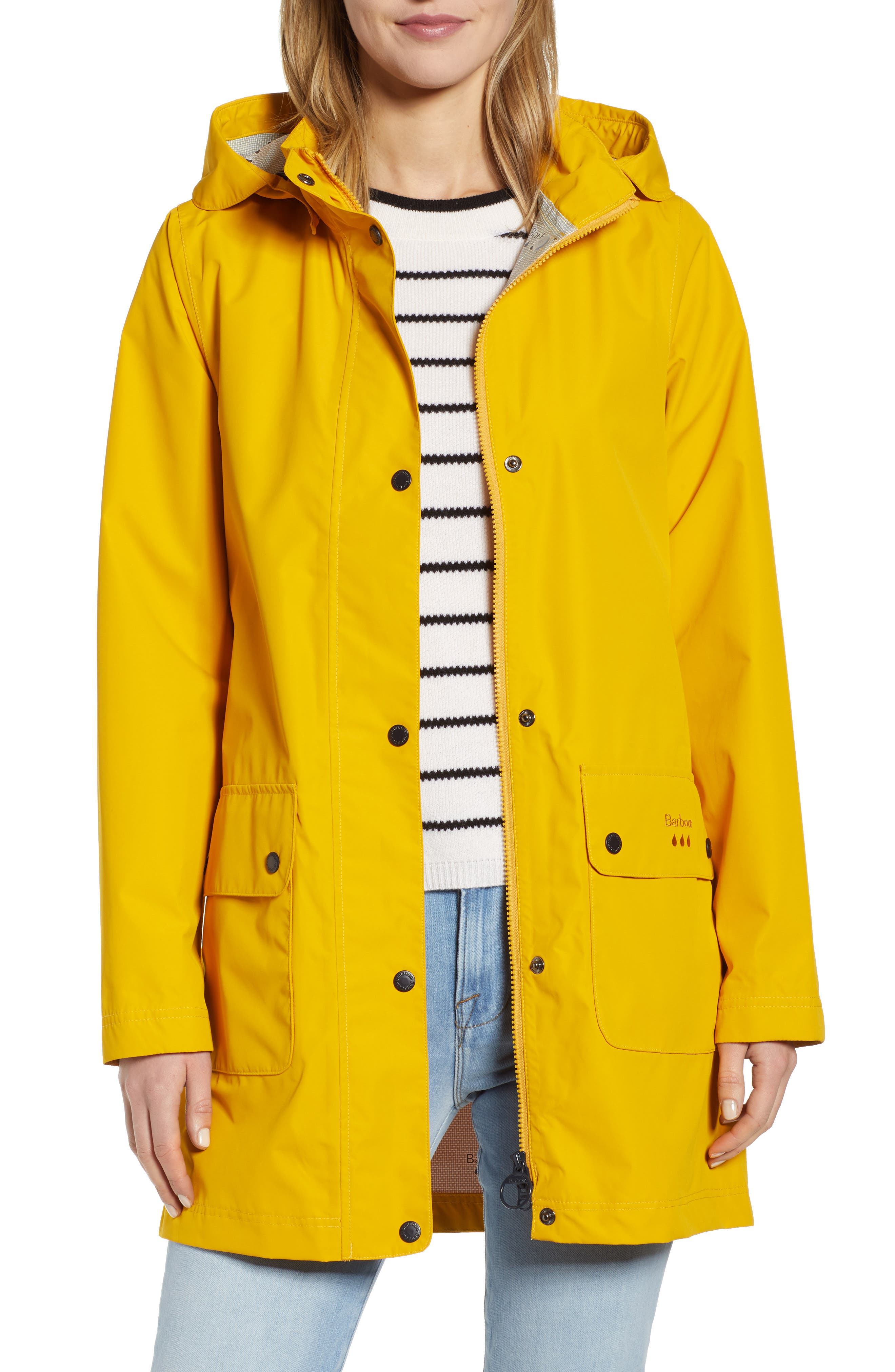 Barbour Inclement Waterproof Hooded Jacket, US / 8 UK - Yellow