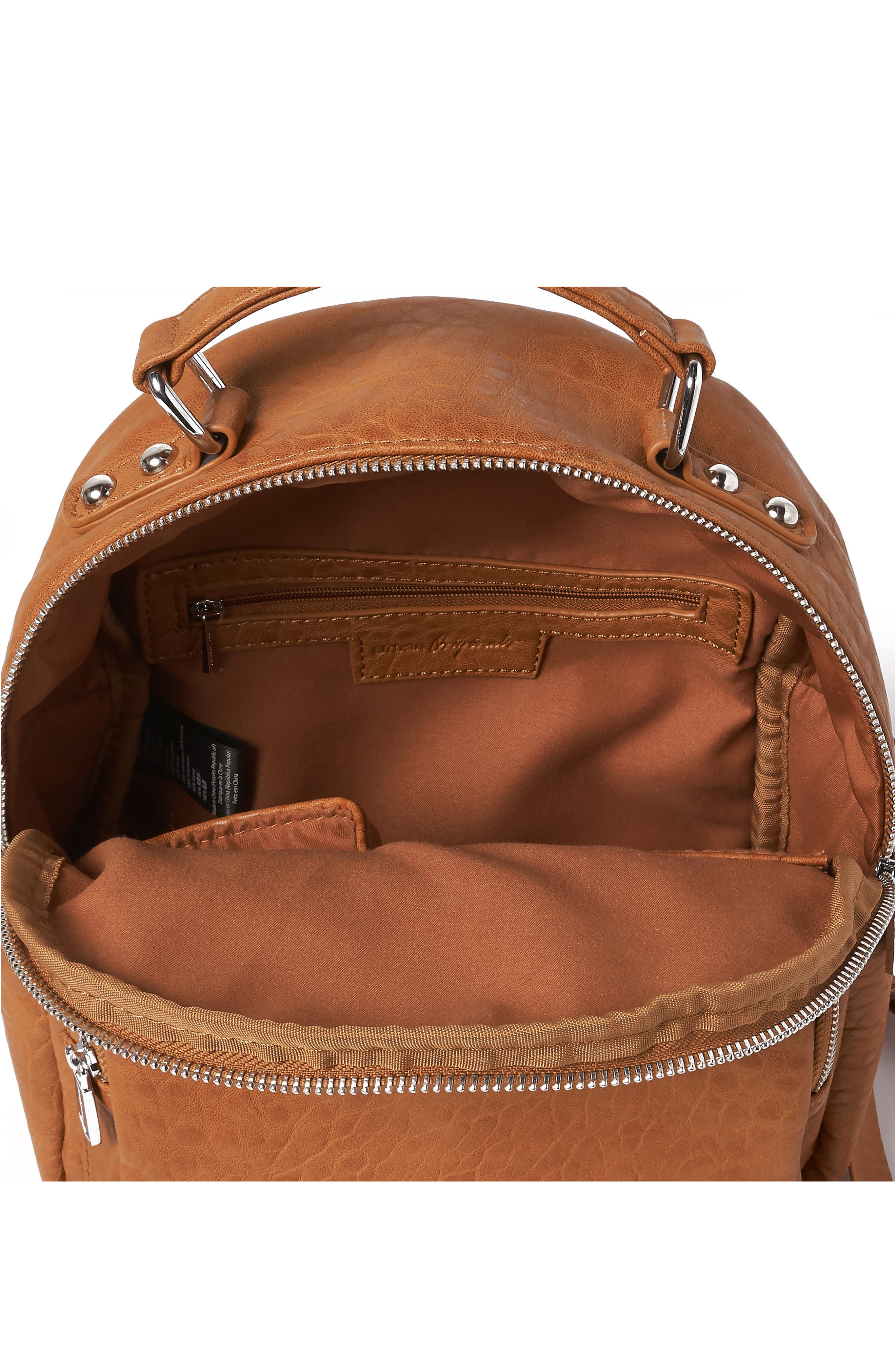 Vegan Leather Mini Backpack,                             Alternate thumbnail 3, color,                             TAN