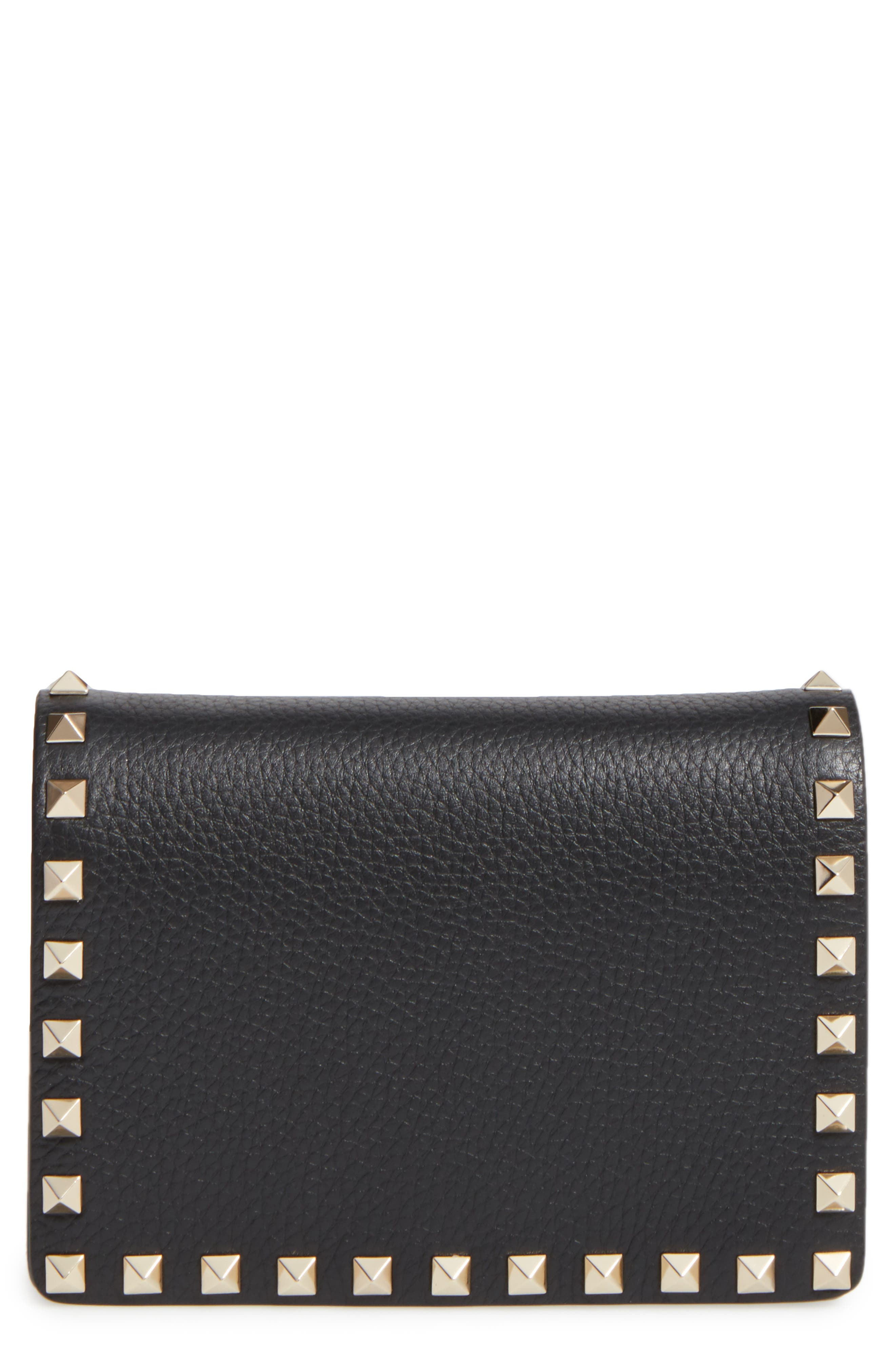 Rockstud Leather Wallet on a Chain,                             Main thumbnail 2, color,