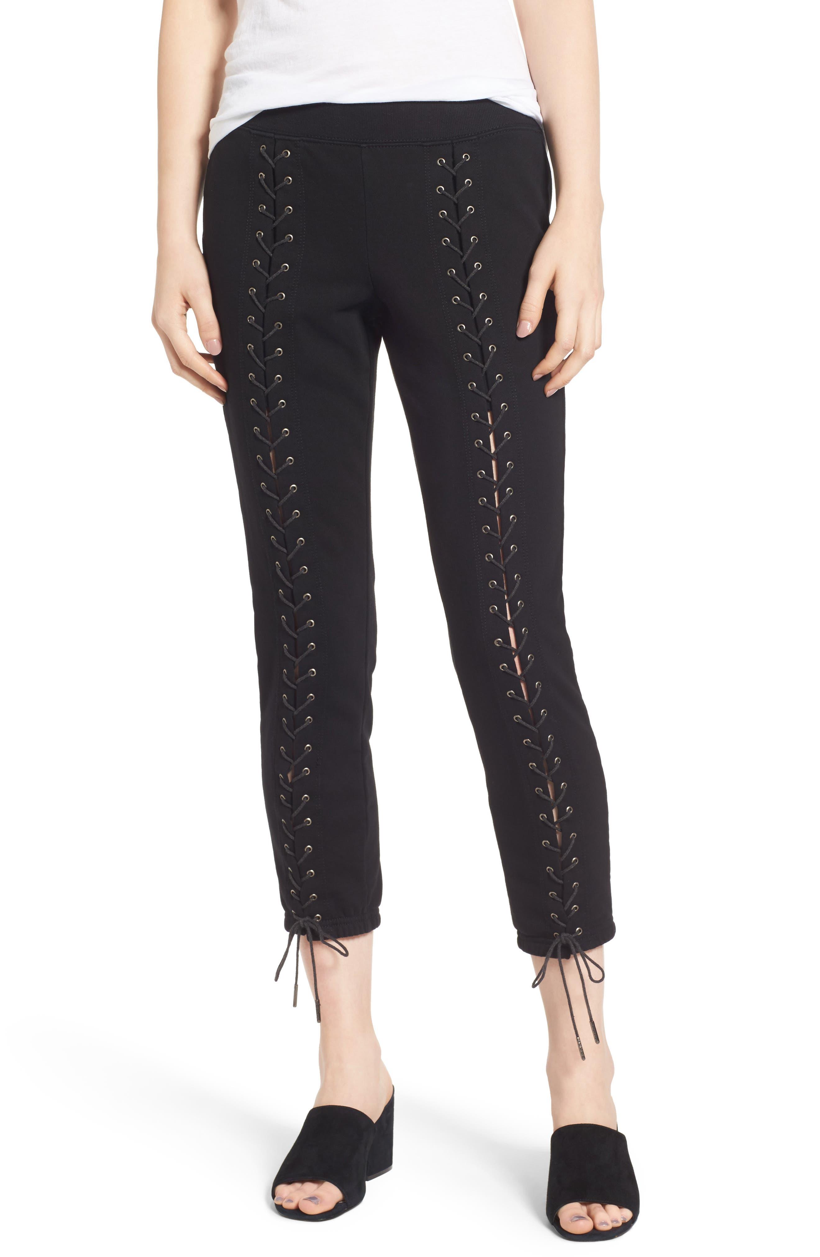 Lace-Up Crop Sweatpants,                         Main,                         color, 001
