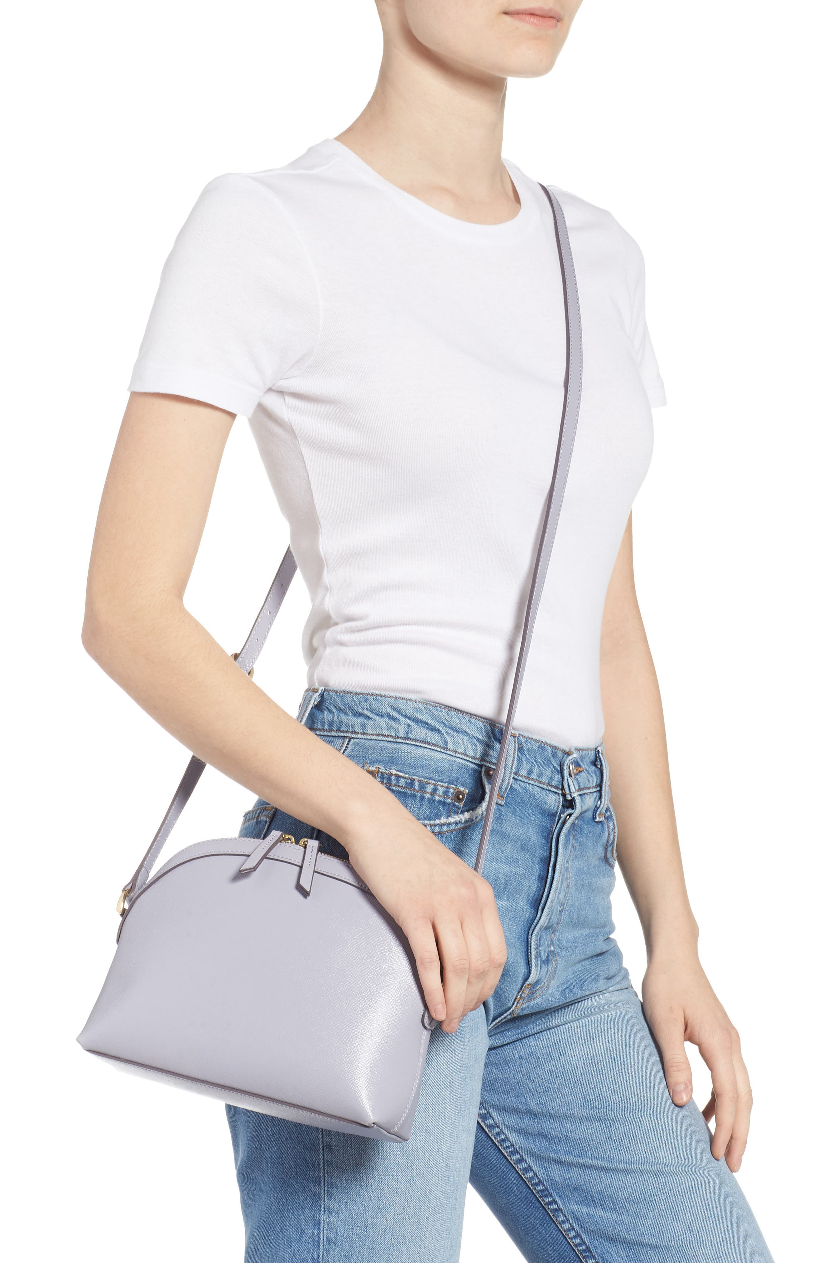 Isobel Half Moon Leather Crossbody Bag,                             Alternate thumbnail 2, color,                             GREY LILAC