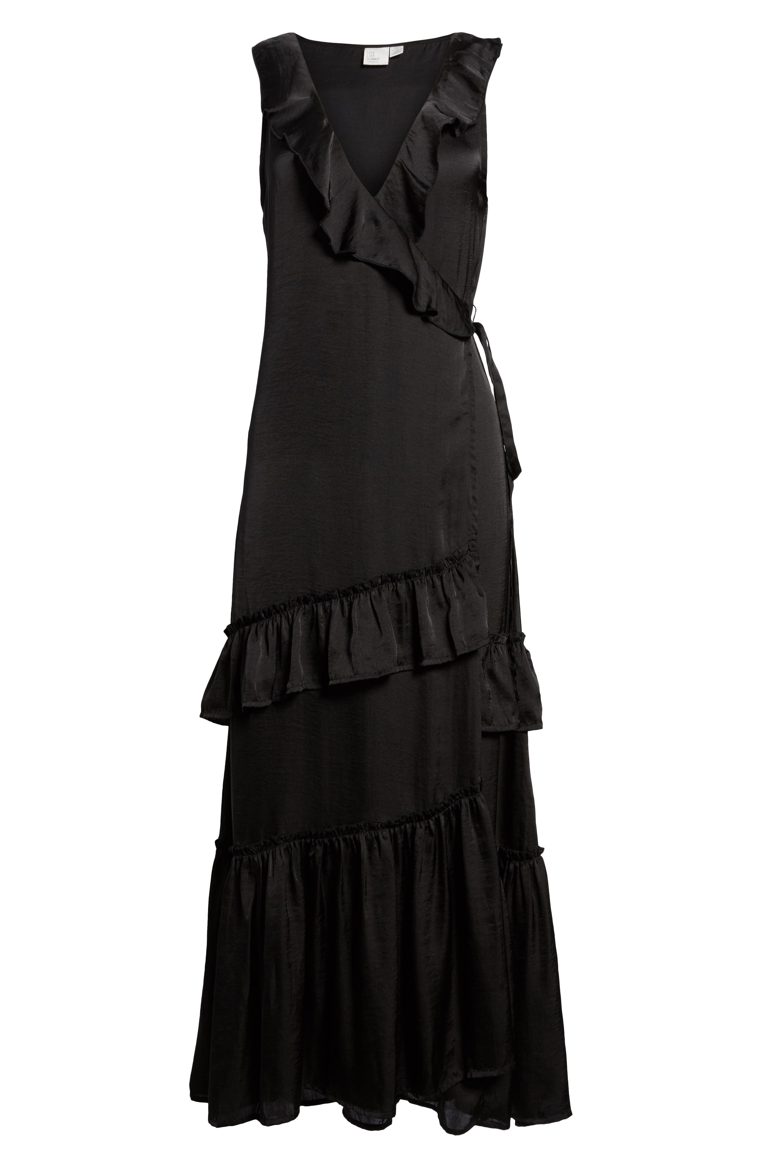 Ruffle Wrap Dress,                             Alternate thumbnail 6, color,                             001
