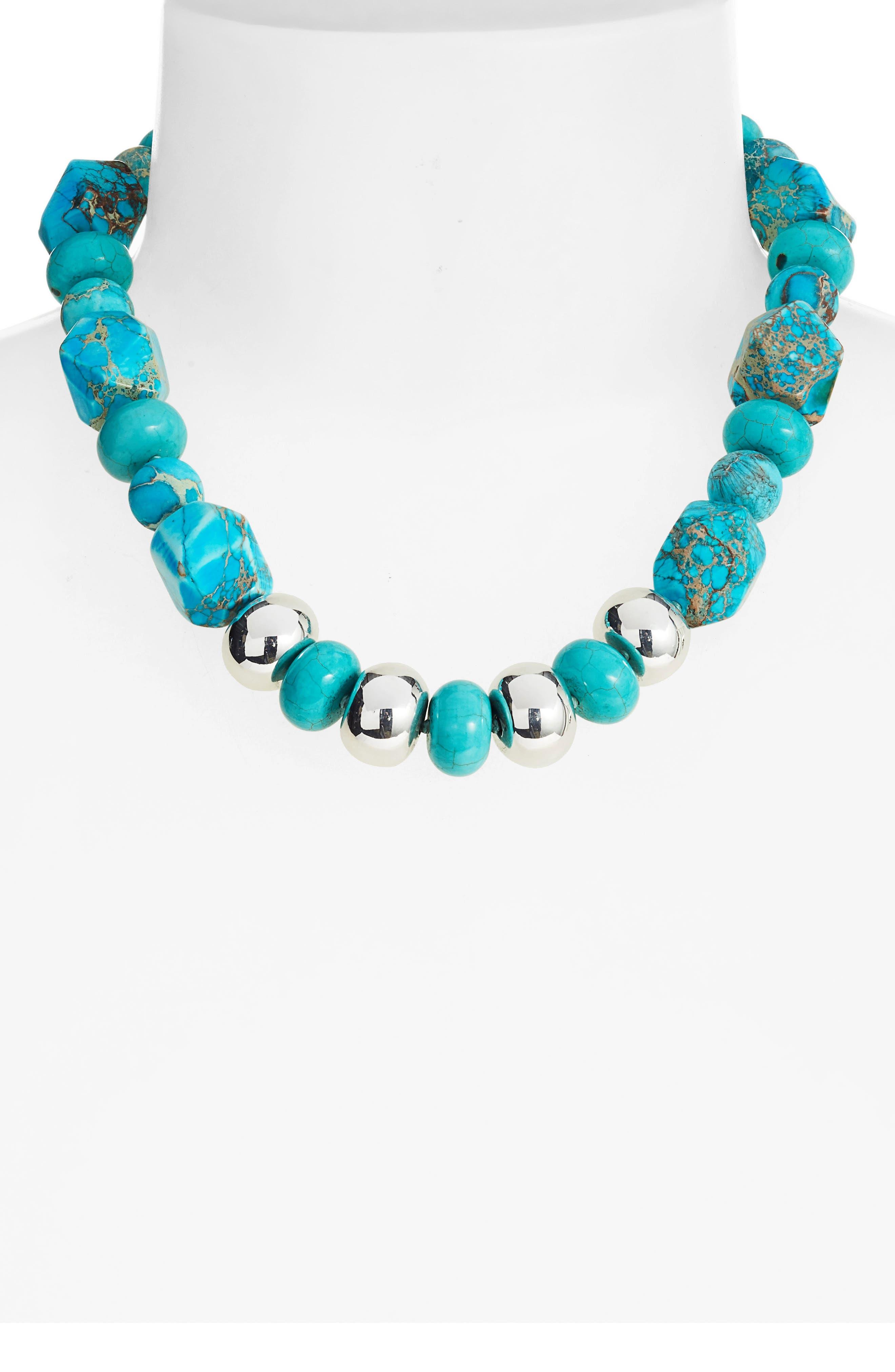 SIMON SEBBAG,                             Multi Shape Stone Bead Necklace,                             Alternate thumbnail 2, color,                             TURQUOISE MULTI