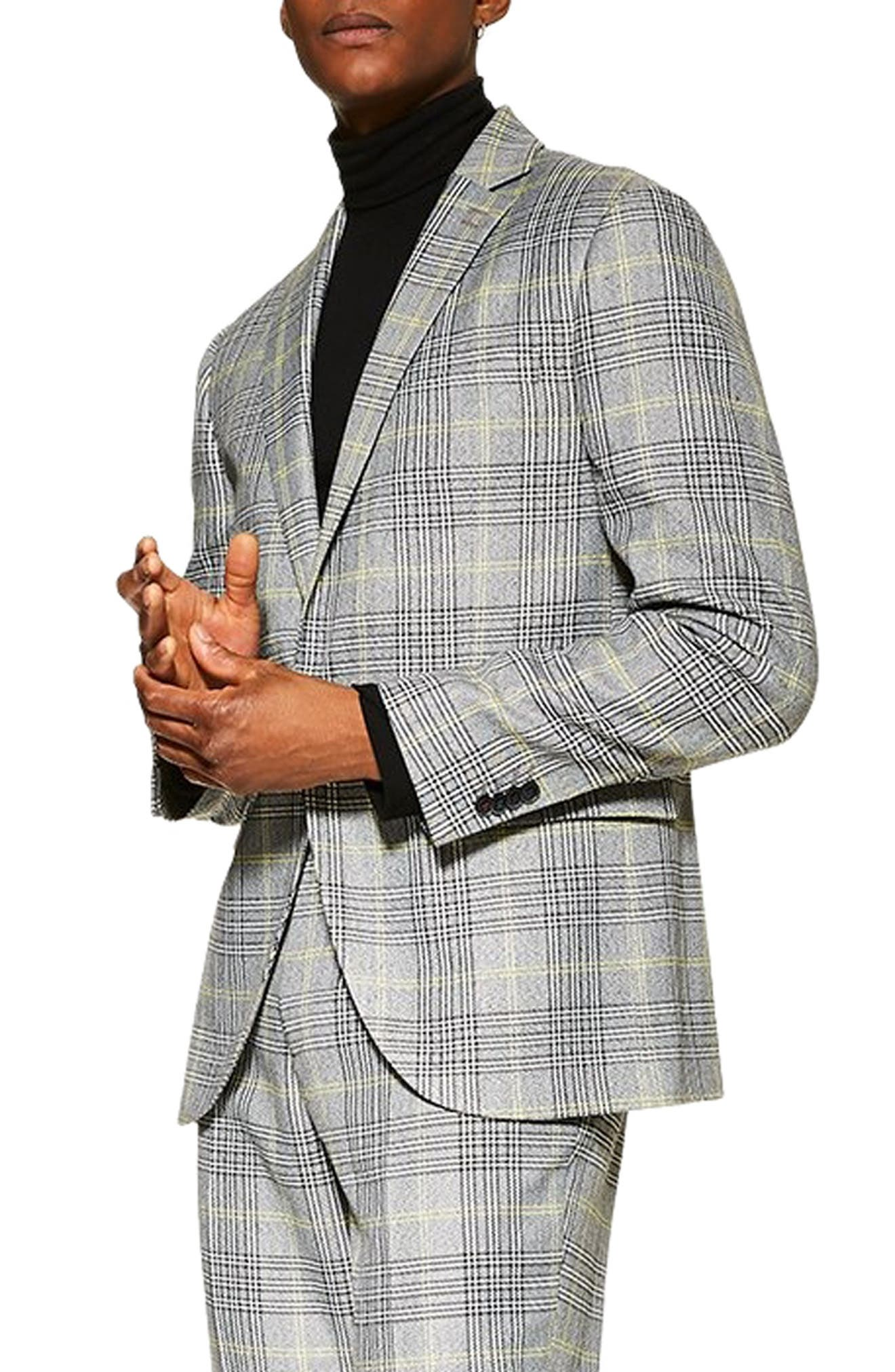 Single Breasted Check Slim Blazer,                             Alternate thumbnail 3, color,                             GREY