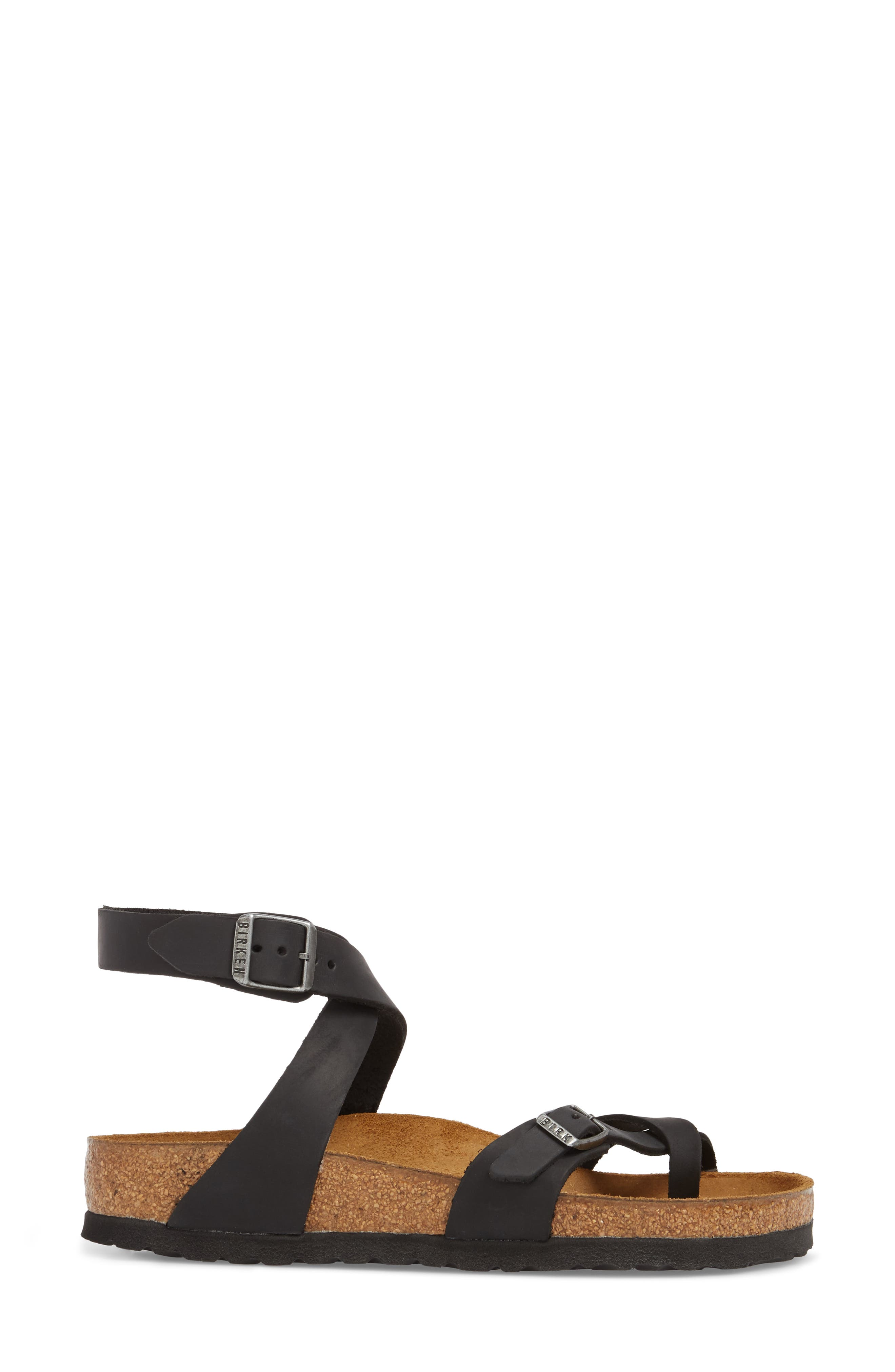 'Yara' Sandal,                             Alternate thumbnail 3, color,                             BLACK OILED LEATHER