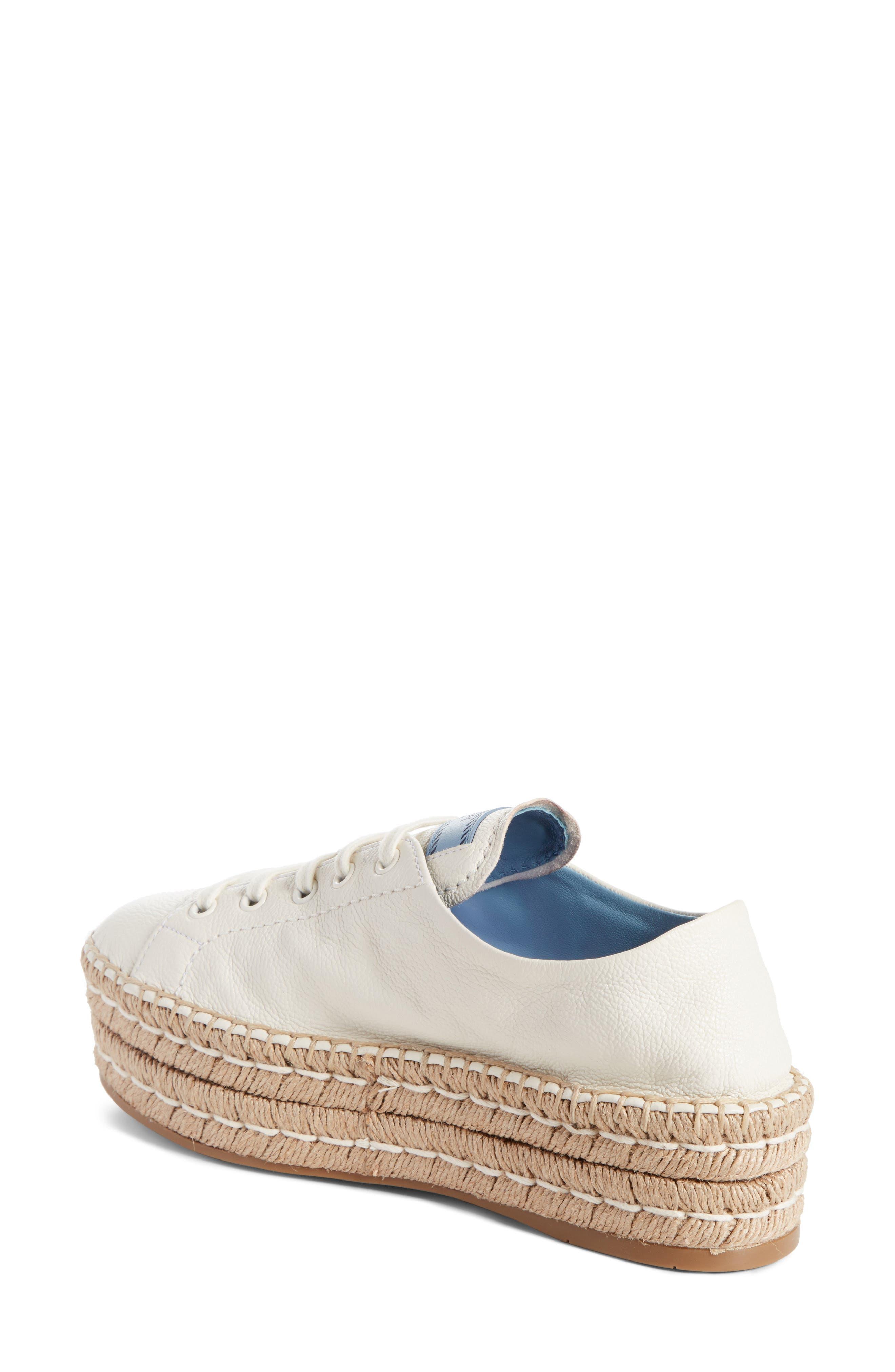 PRADA,                             Flatform Espadrille Sneaker,                             Alternate thumbnail 2, color,                             WHITE