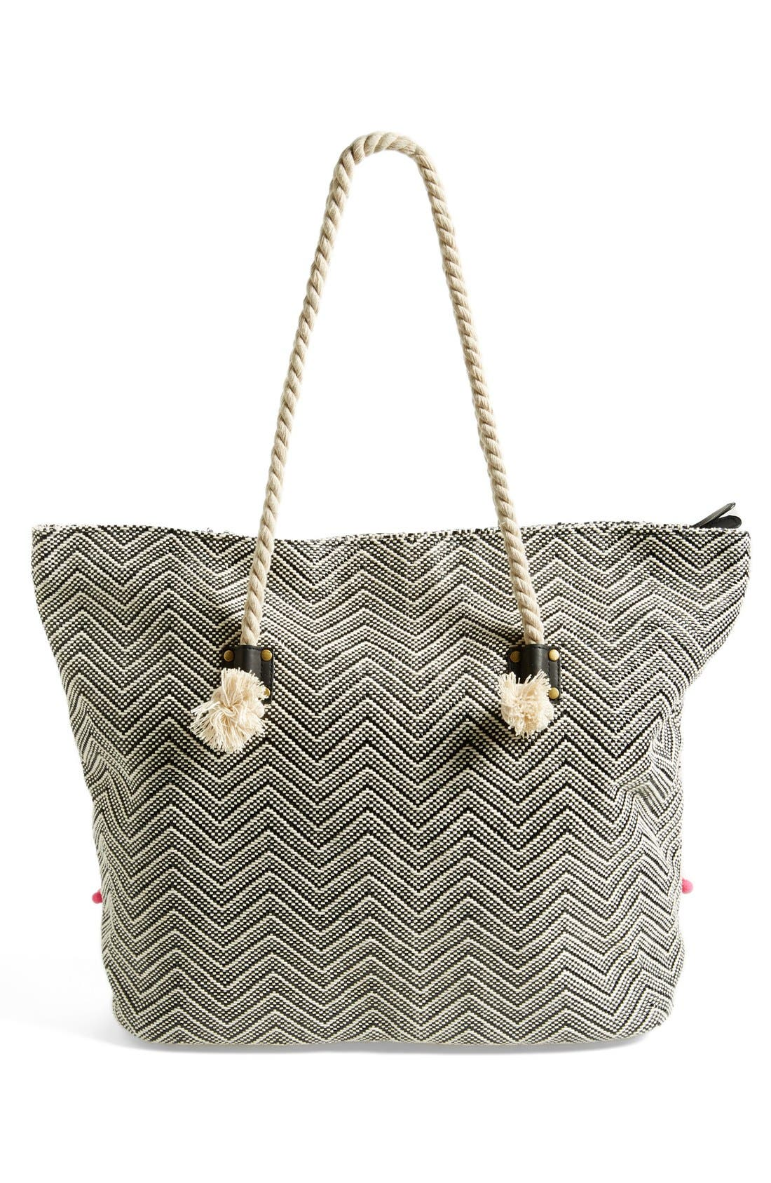 RIP CURL,                             'Haleiwa' Straw Beach Tote,                             Alternate thumbnail 4, color,                             001