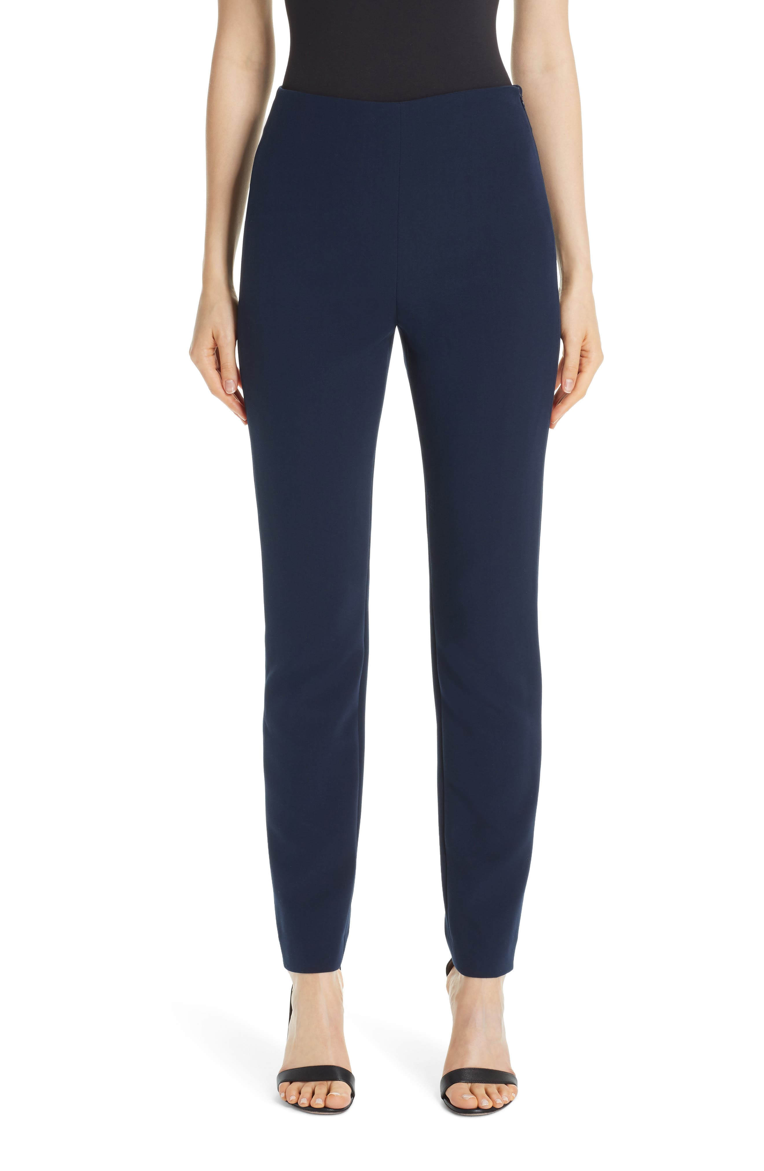 Bella Double Weave Ankle Pants in Navy