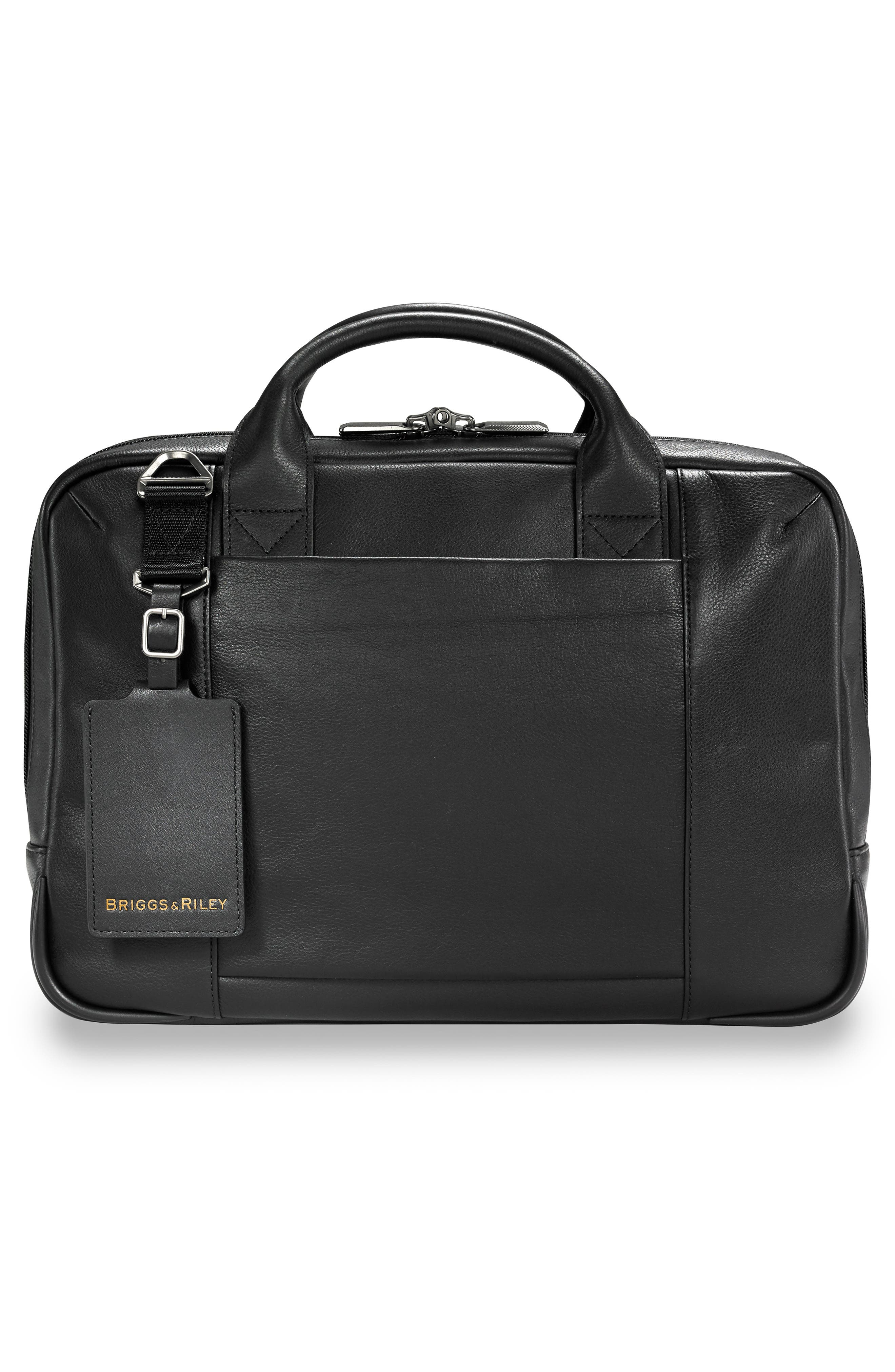 BRIGGS & RILEY,                             @work Slim Leather Laptop Briefcase,                             Alternate thumbnail 2, color,                             BLACK