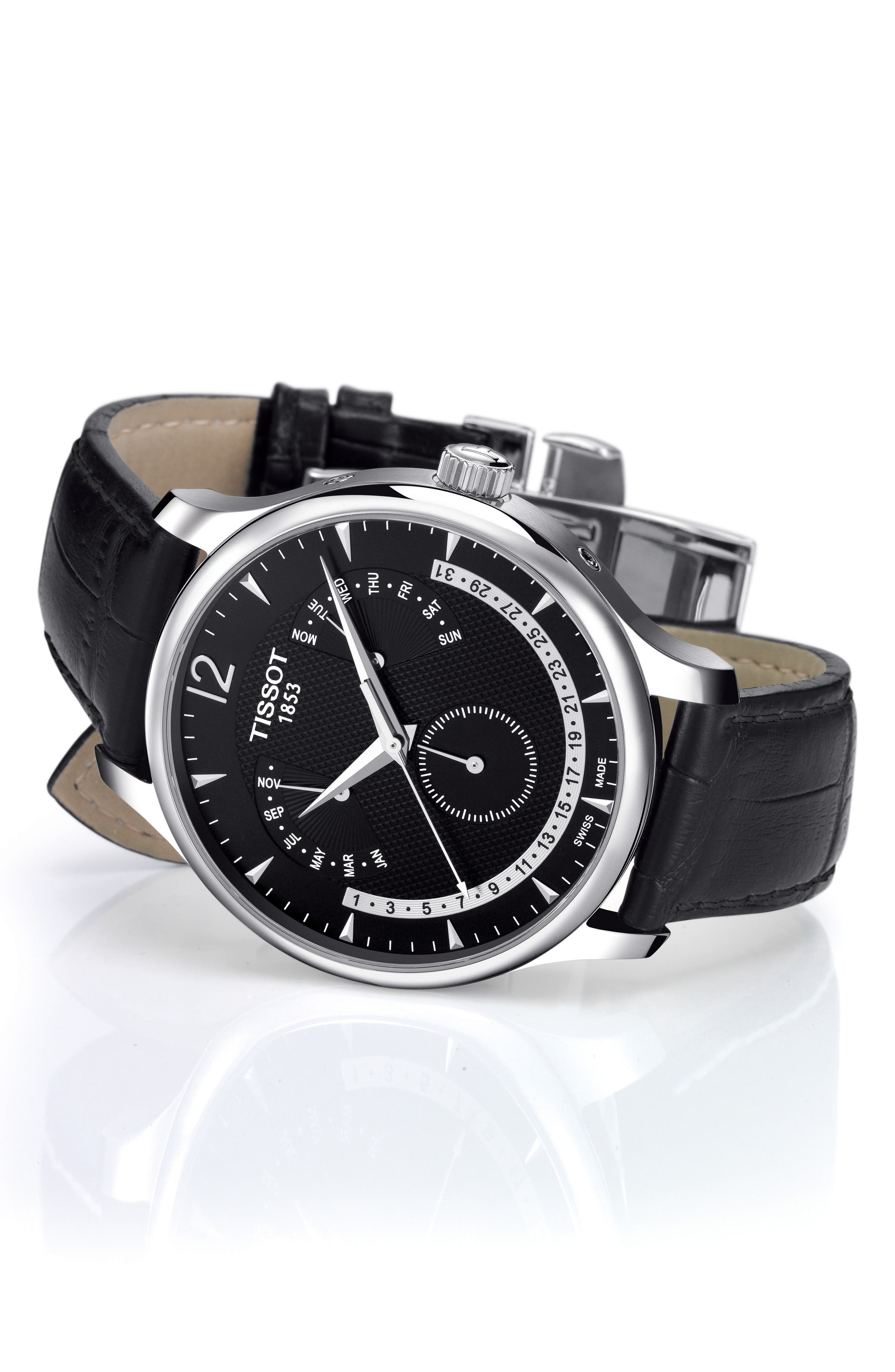 Tradition Calendar Leather Strap Watch, 42mm,                             Alternate thumbnail 2, color,                             BLACK/ SILVER