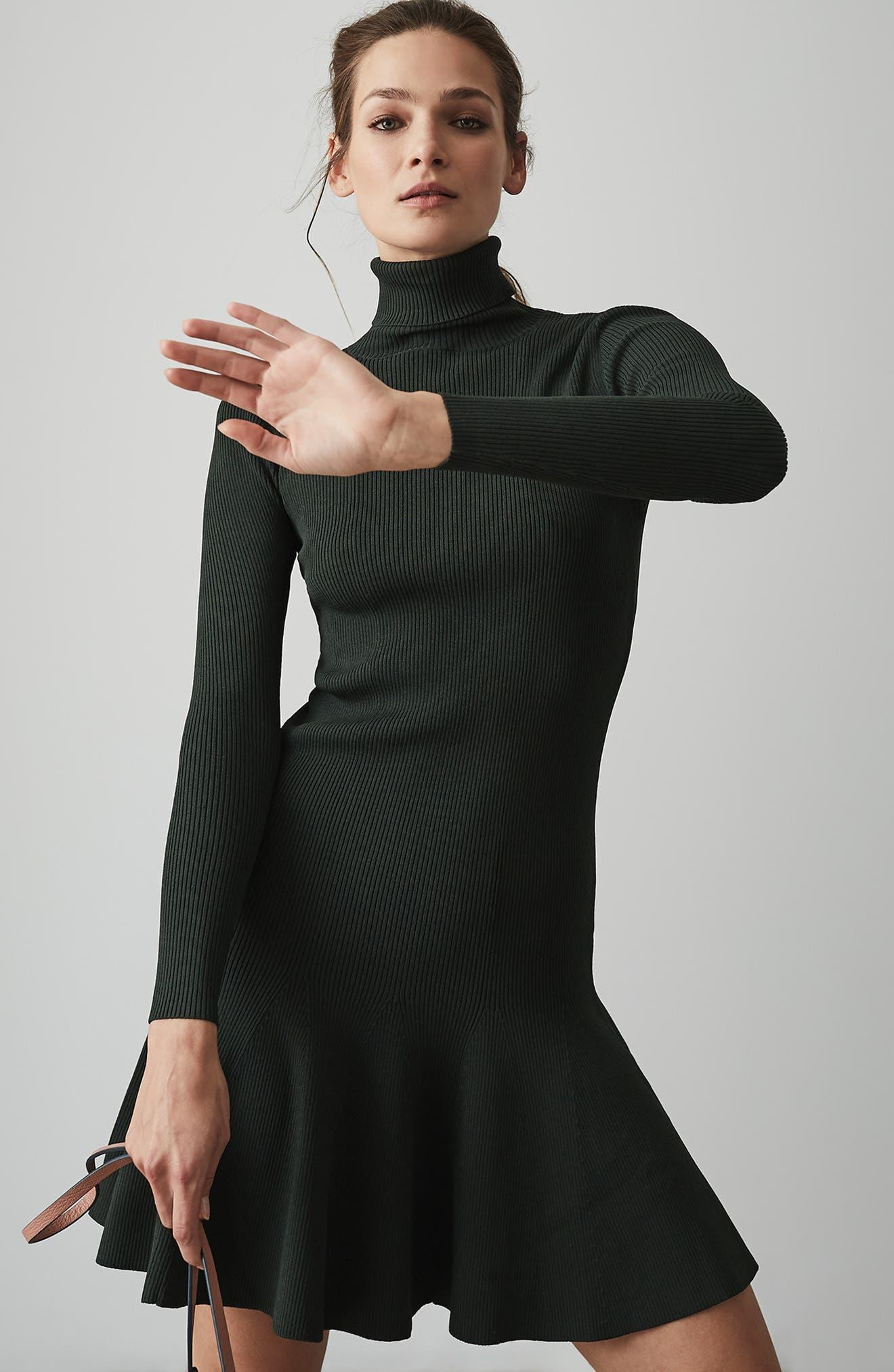 REISS,                             Mimi Turtleneck Sweater Dress,                             Alternate thumbnail 7, color,                             GREEN