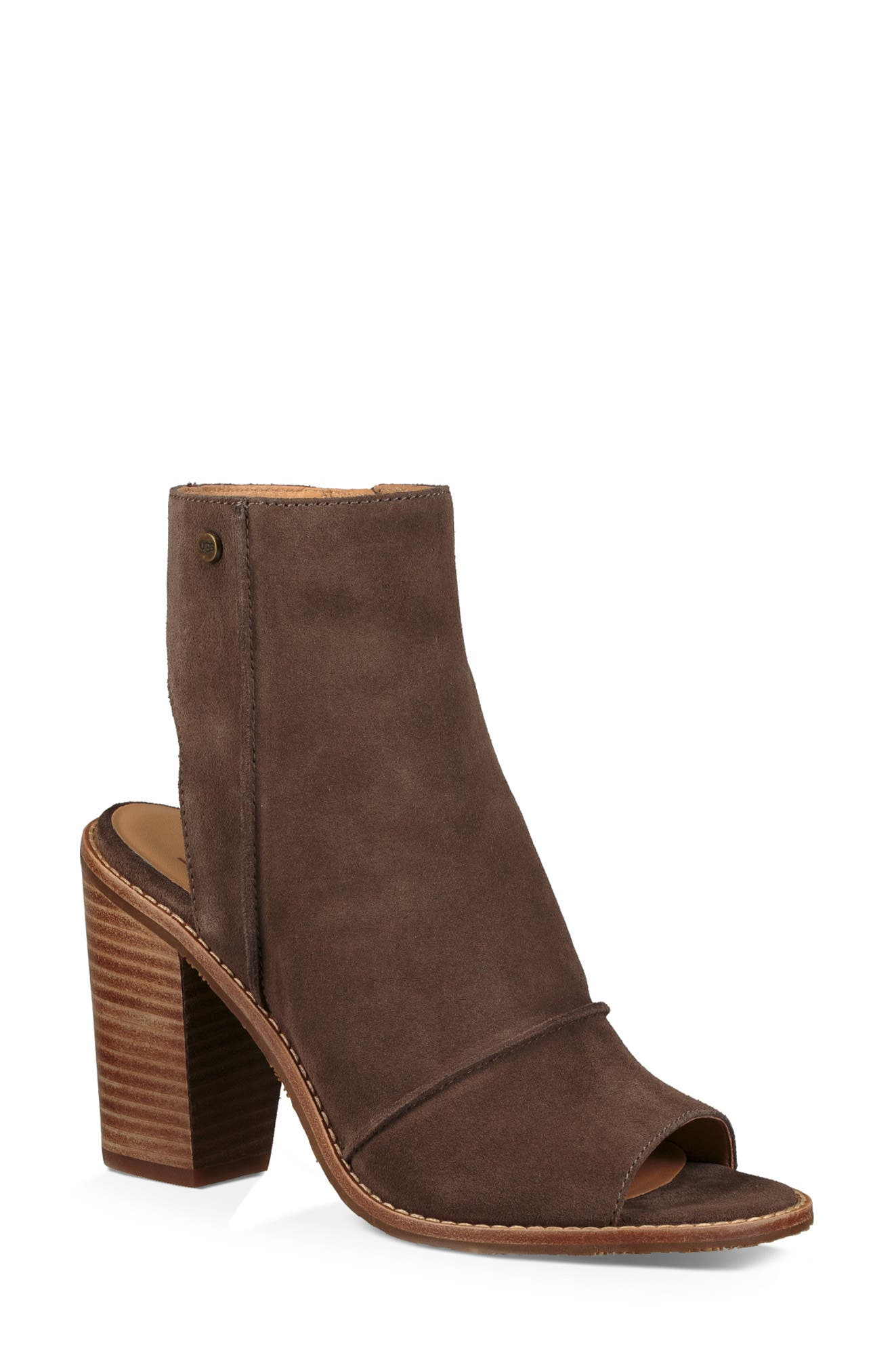 Valencia Peep Toe Bootie,                             Main thumbnail 1, color,                             MYSTERIOUS LEATHER