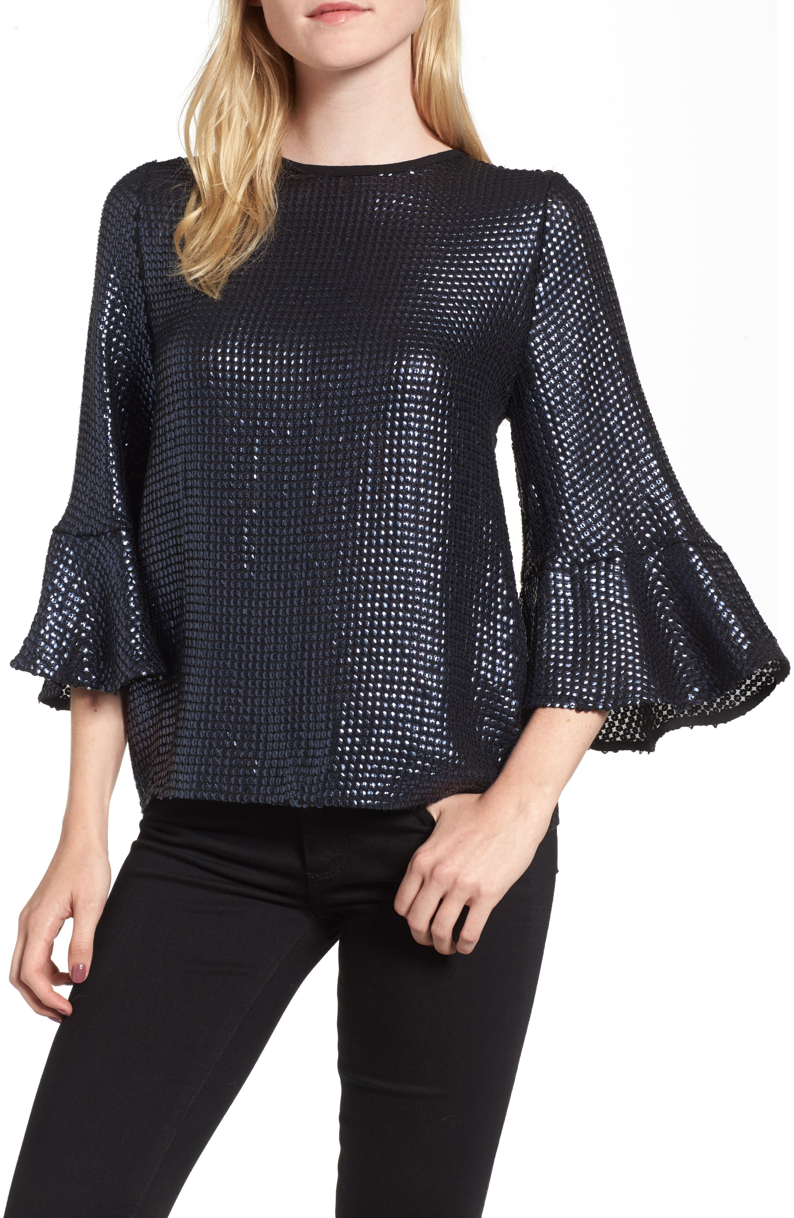 Sequin Bell Sleeve Top,                             Main thumbnail 1, color,                             410