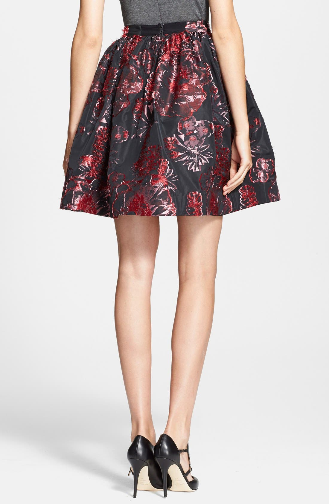 'Pia' Floral Pattern Pouf Skirt,                             Alternate thumbnail 3, color,