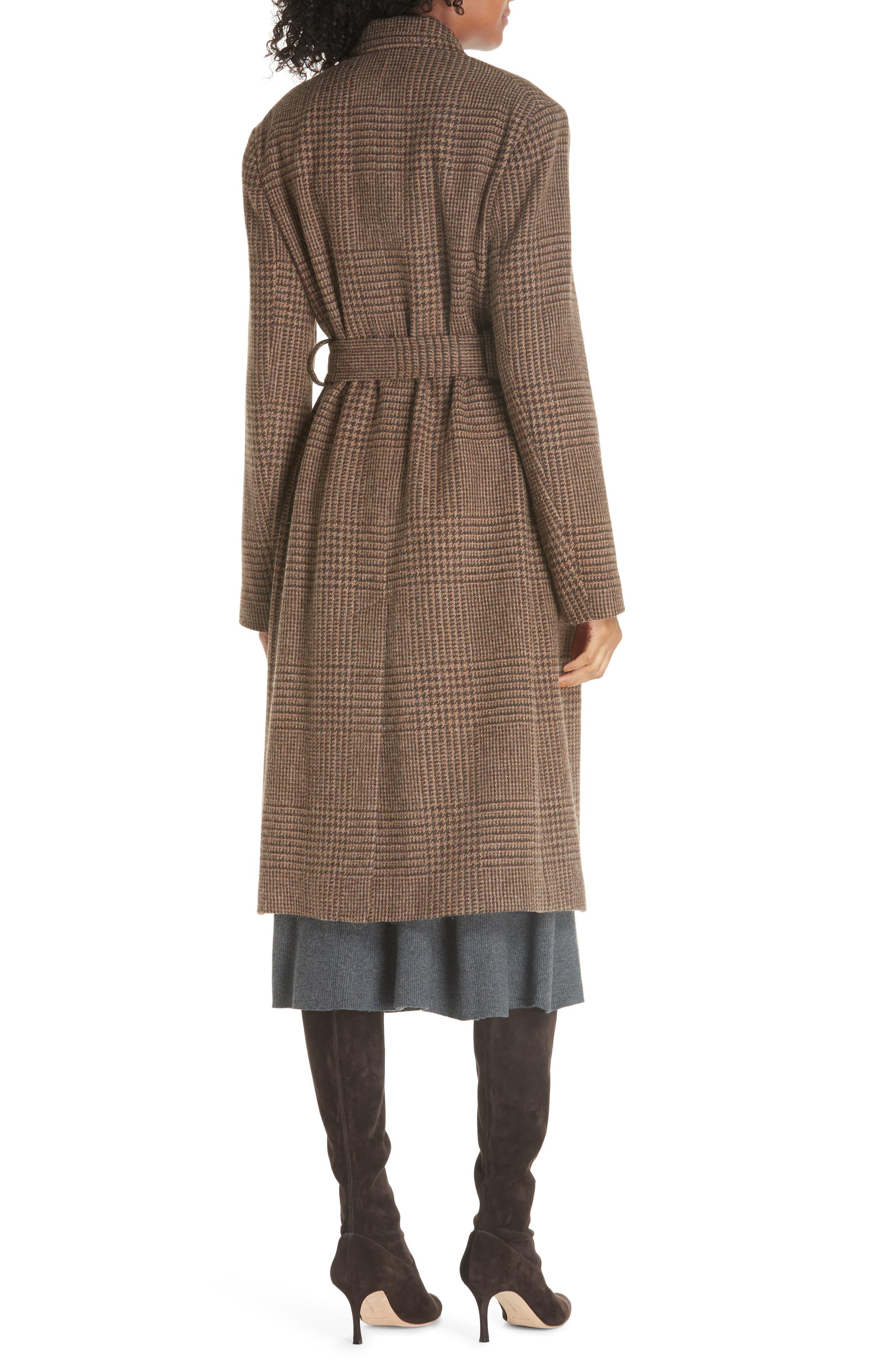 Plaid Lambswool & Alpaca Belted Coat,                             Alternate thumbnail 2, color,                             BROWN GLEN PLAID