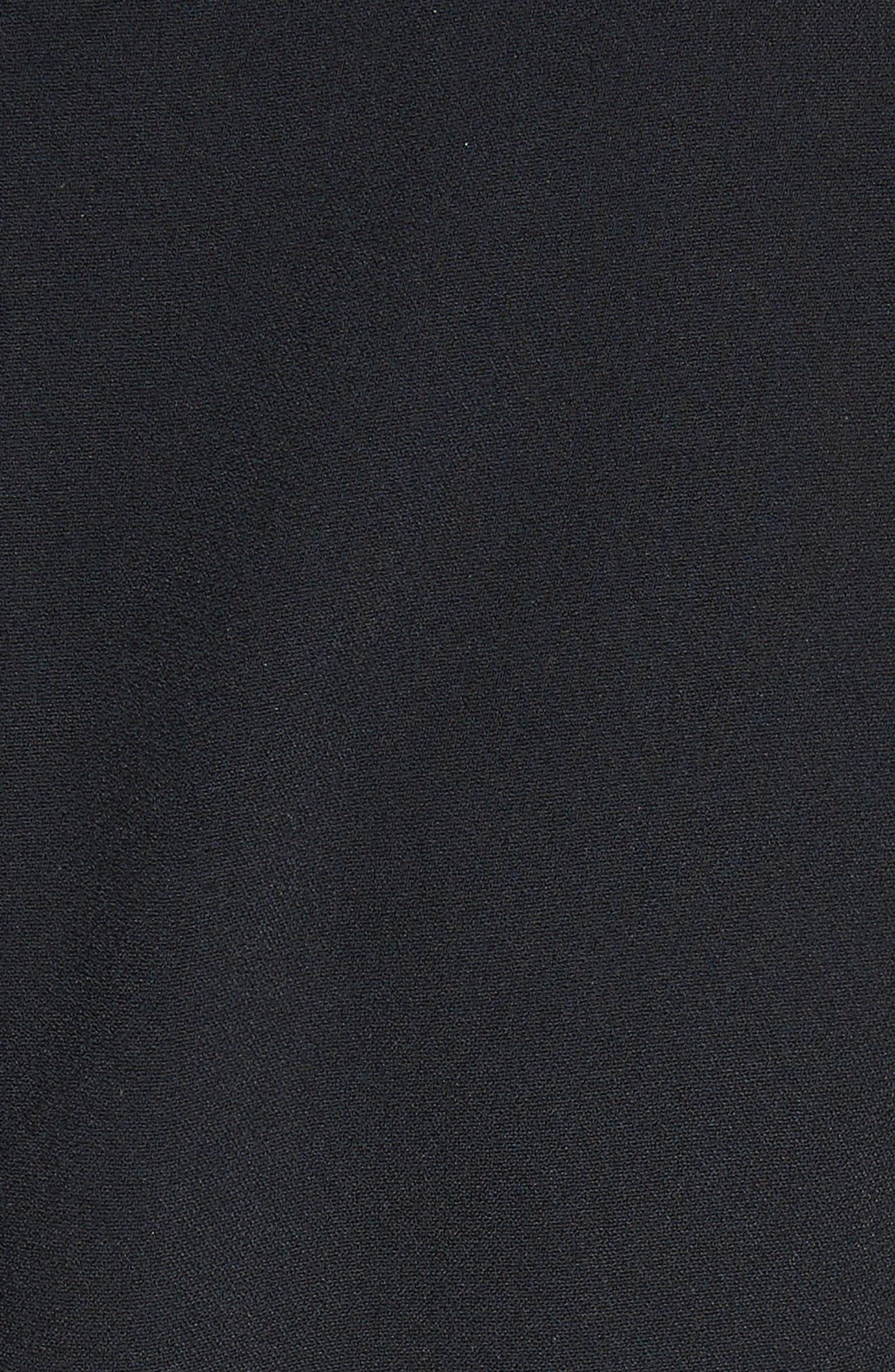 Velvet Trim Cady Turtleneck Dress,                             Alternate thumbnail 5, color,                             001