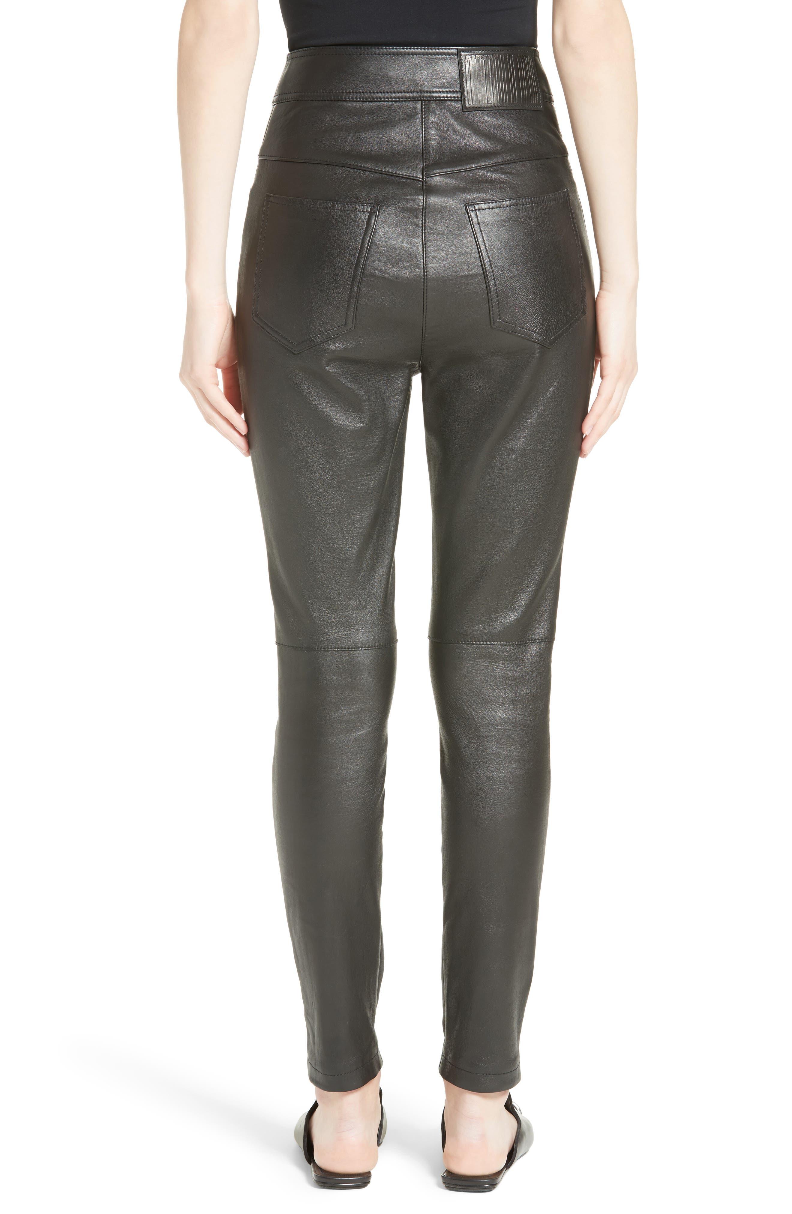 High Waist Leather Pants,                             Alternate thumbnail 2, color,                             001