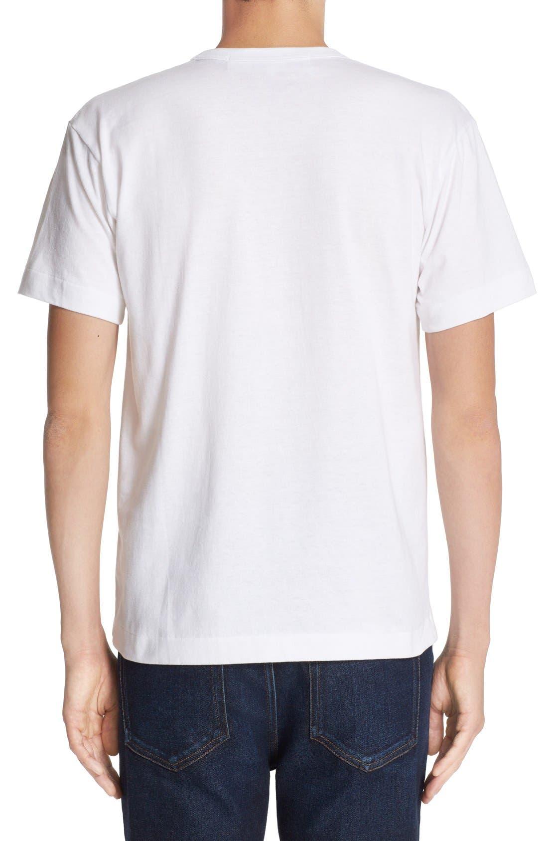 Comme des Garçons PLAY Heart Print T-Shirt,                             Alternate thumbnail 3, color,                             PINK