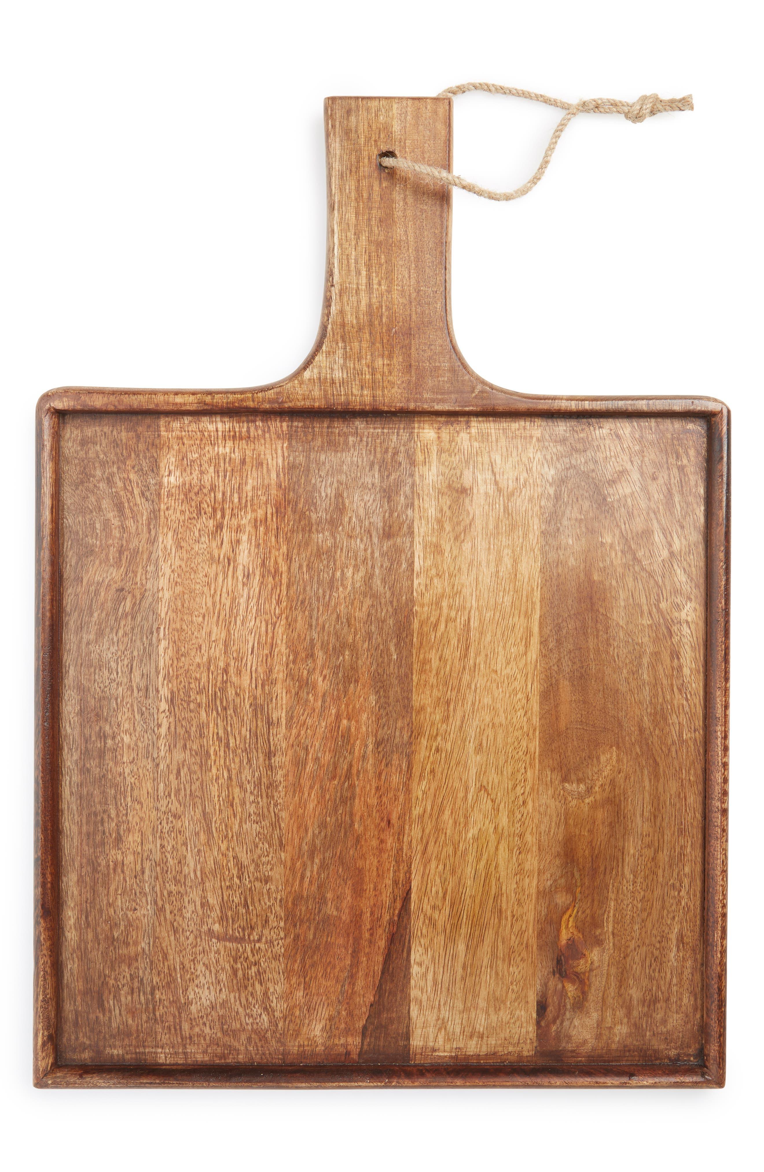 Square Mango Wood Serving Board, Main, color, BROWN