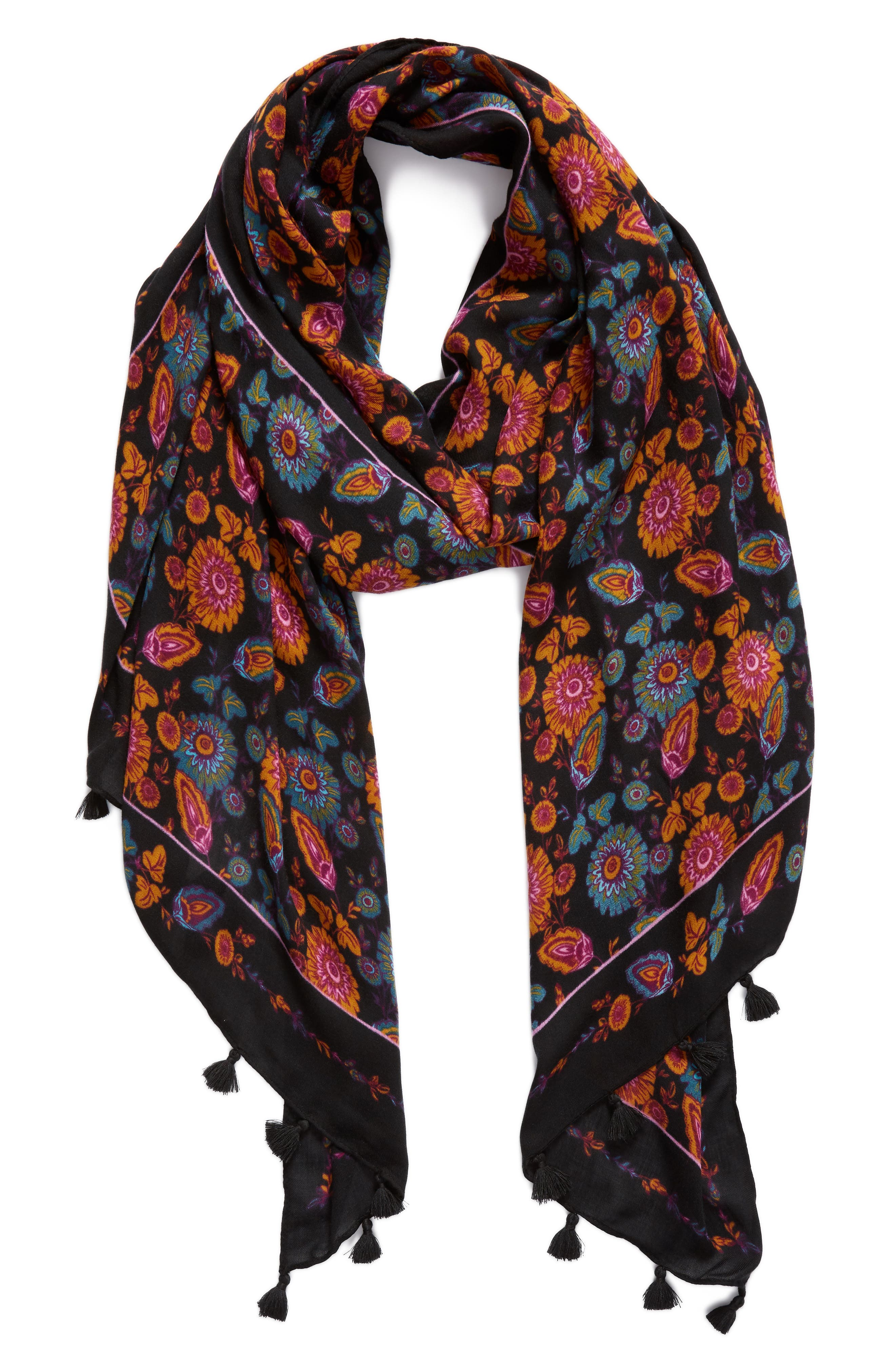 Acid Floral Twill Scarf,                             Alternate thumbnail 2, color,                             001
