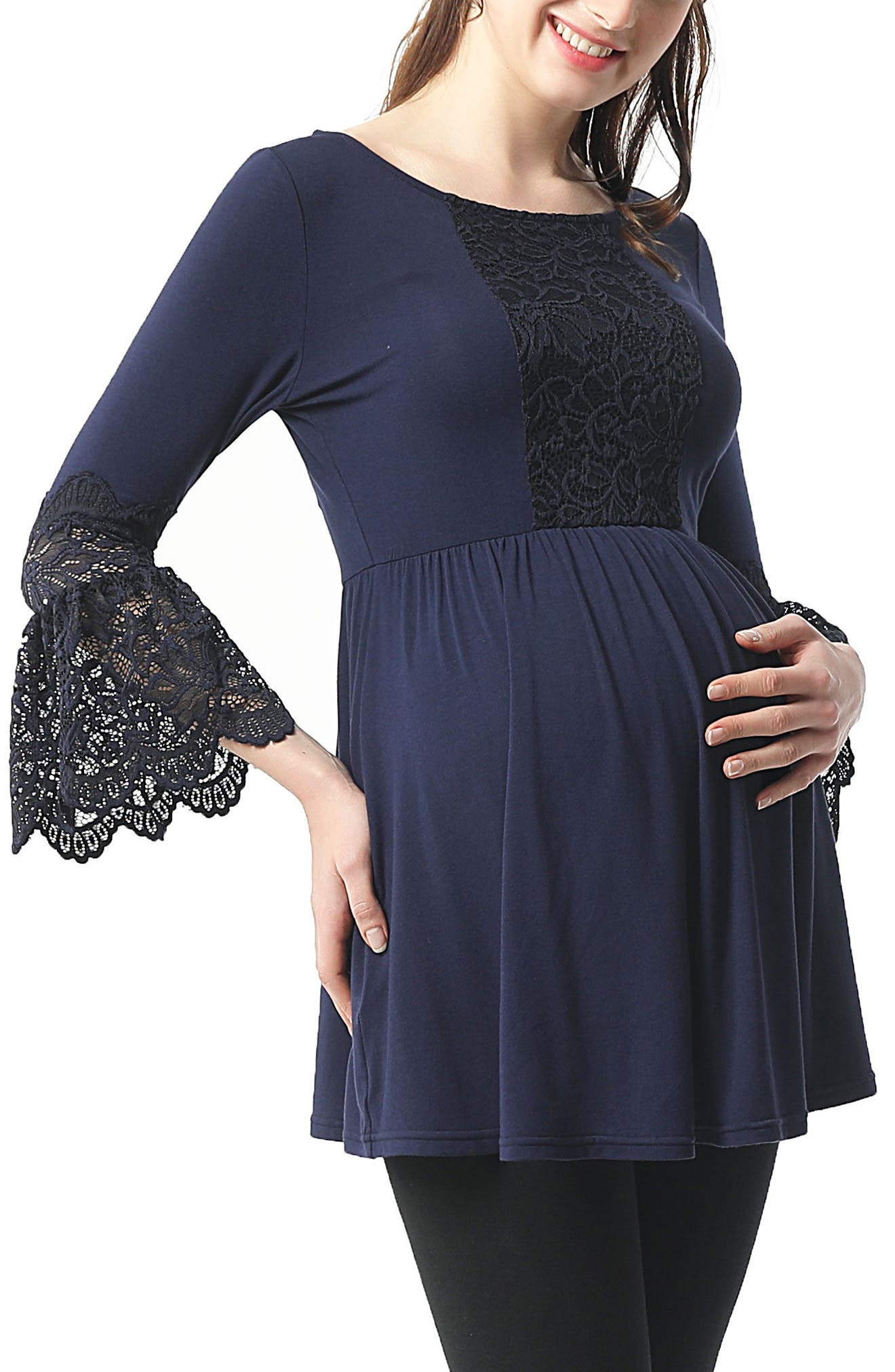 Alexis Bell Sleeve Babydoll Maternity Top,                         Main,                         color, NAVY