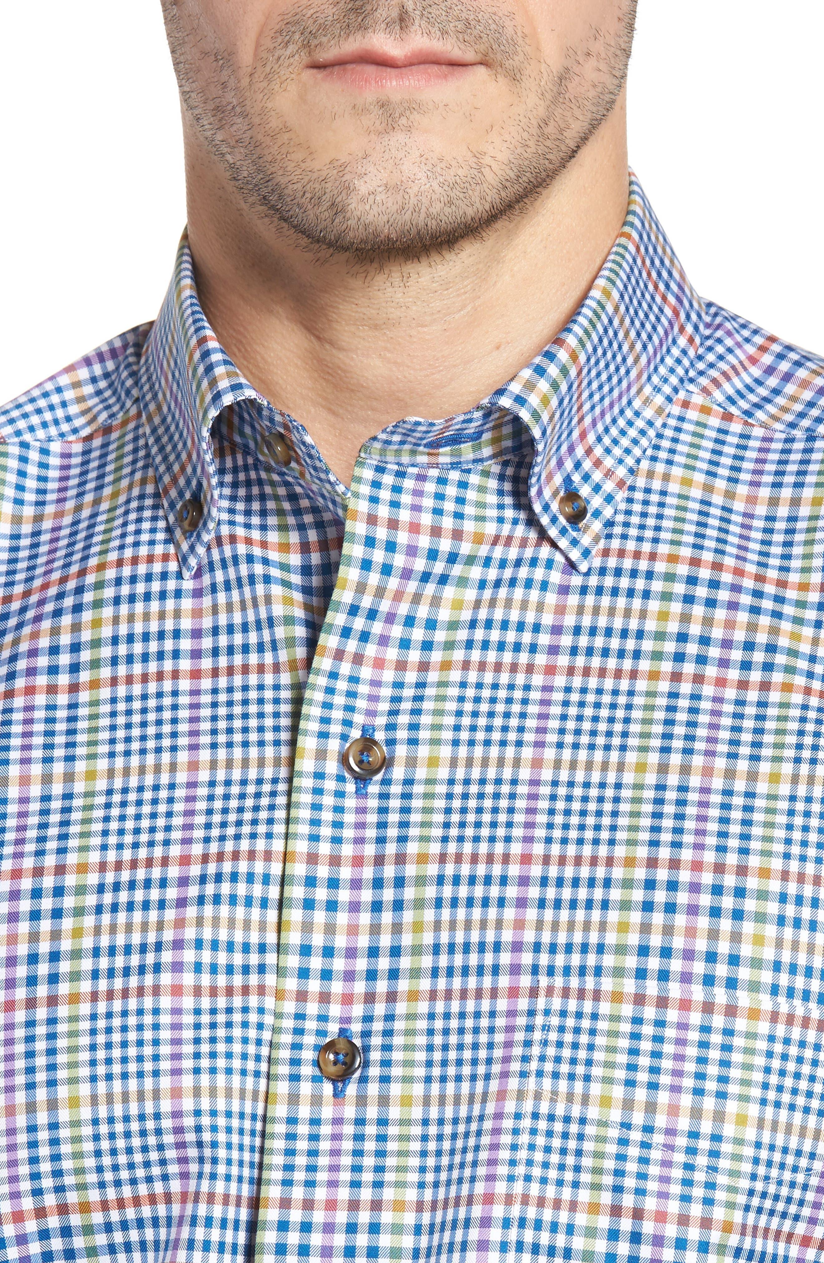 Regular Fit Plaid Sport Shirt,                             Alternate thumbnail 4, color,                             423