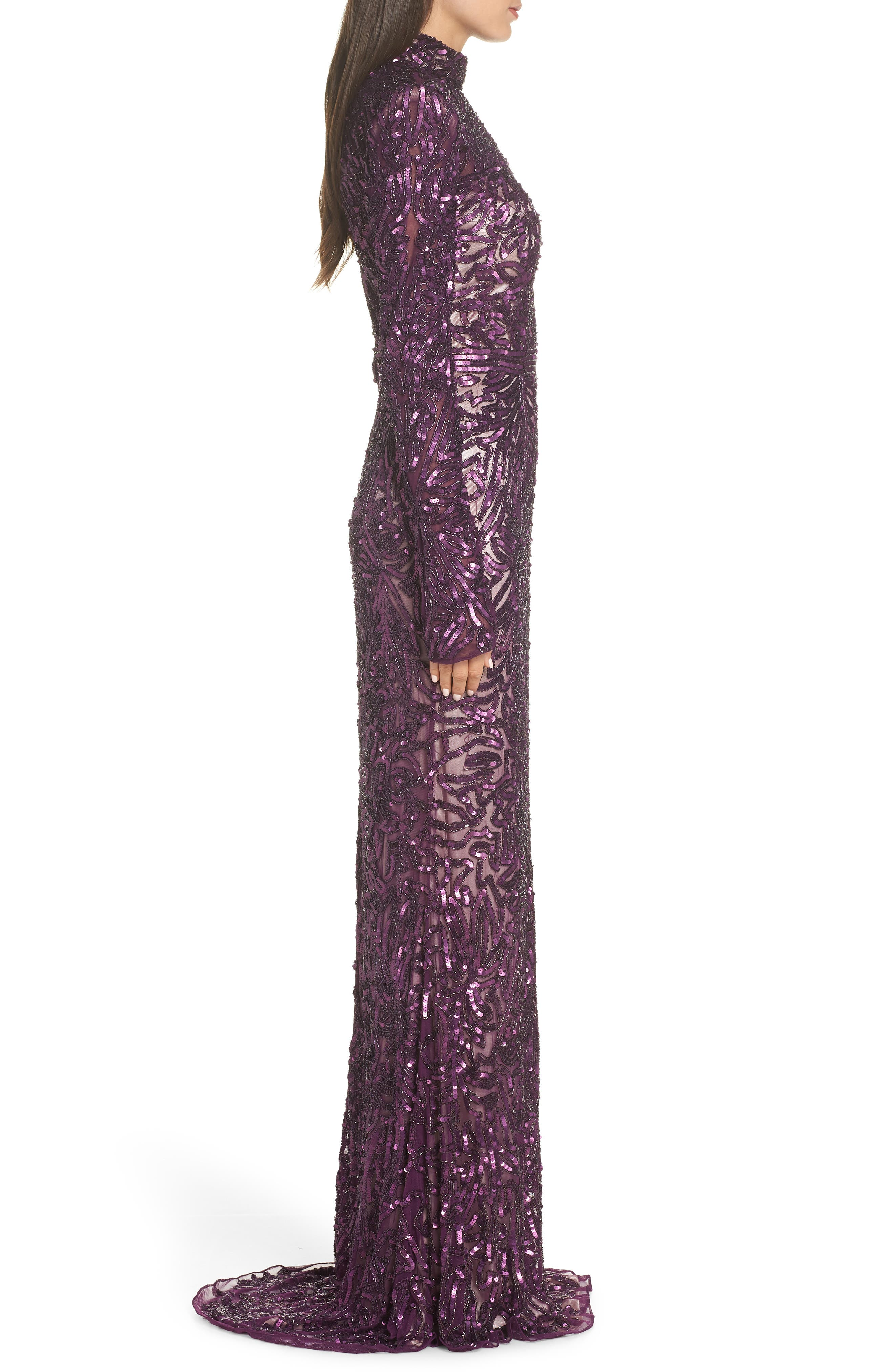 High Neck Sequin Gown with Train,                             Alternate thumbnail 3, color,                             AUBERGINE