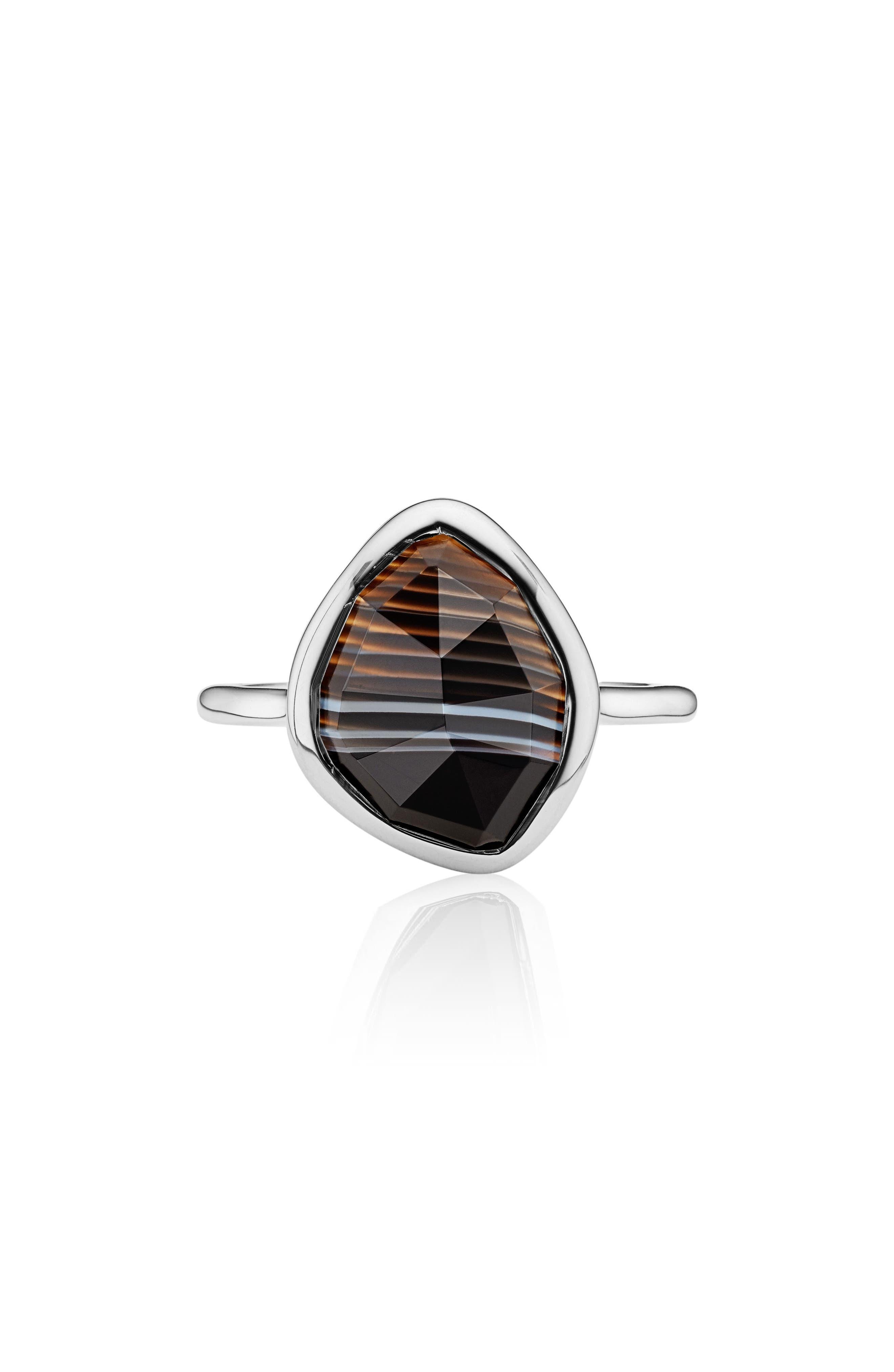 Siren Nugget Semiprecious Stacking Ring,                             Main thumbnail 1, color,                             SILVER/ BLACK LINE ONYX