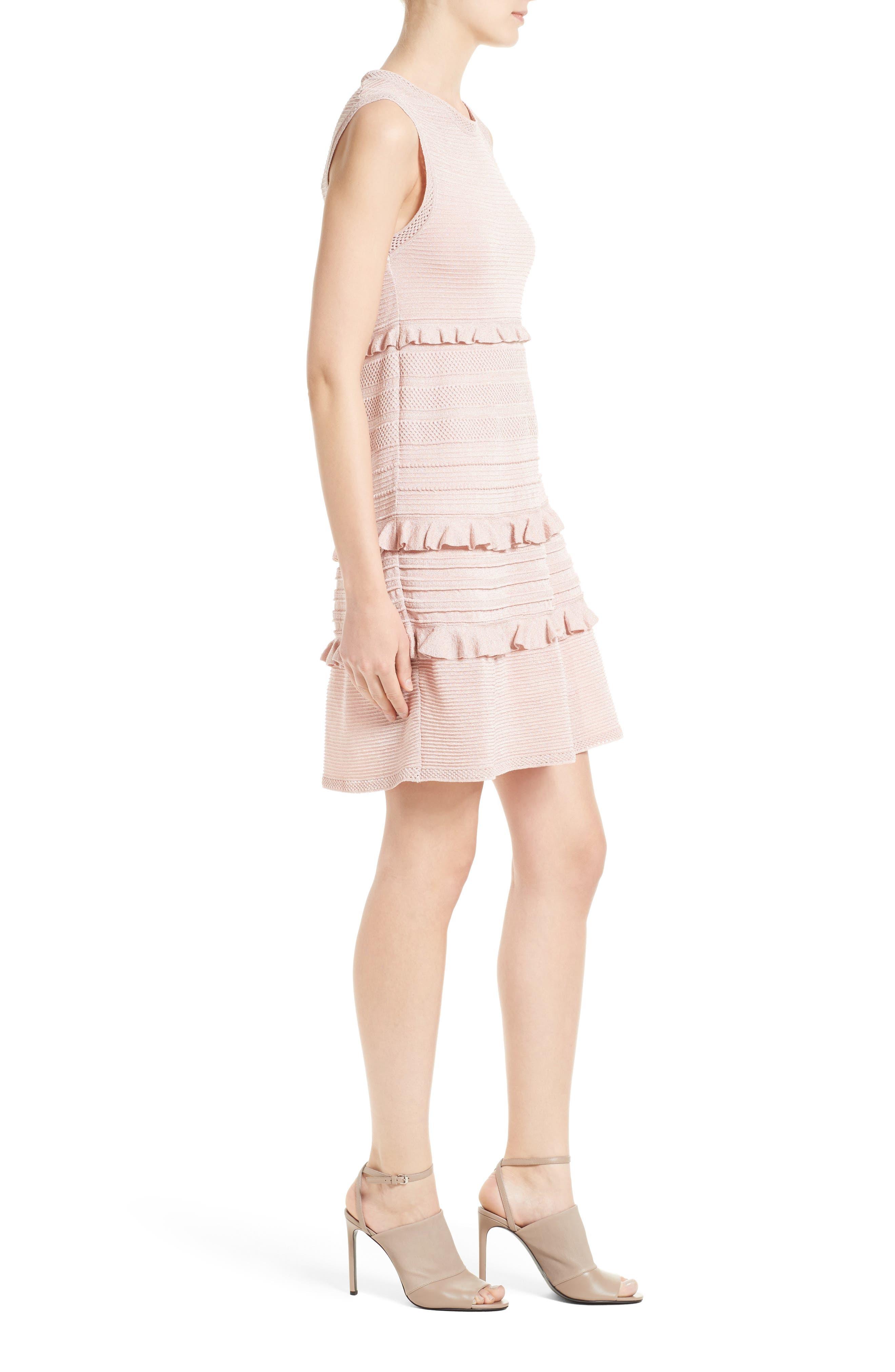 Ruffle Metallic Mouline Knit Dress,                             Alternate thumbnail 3, color,                             661