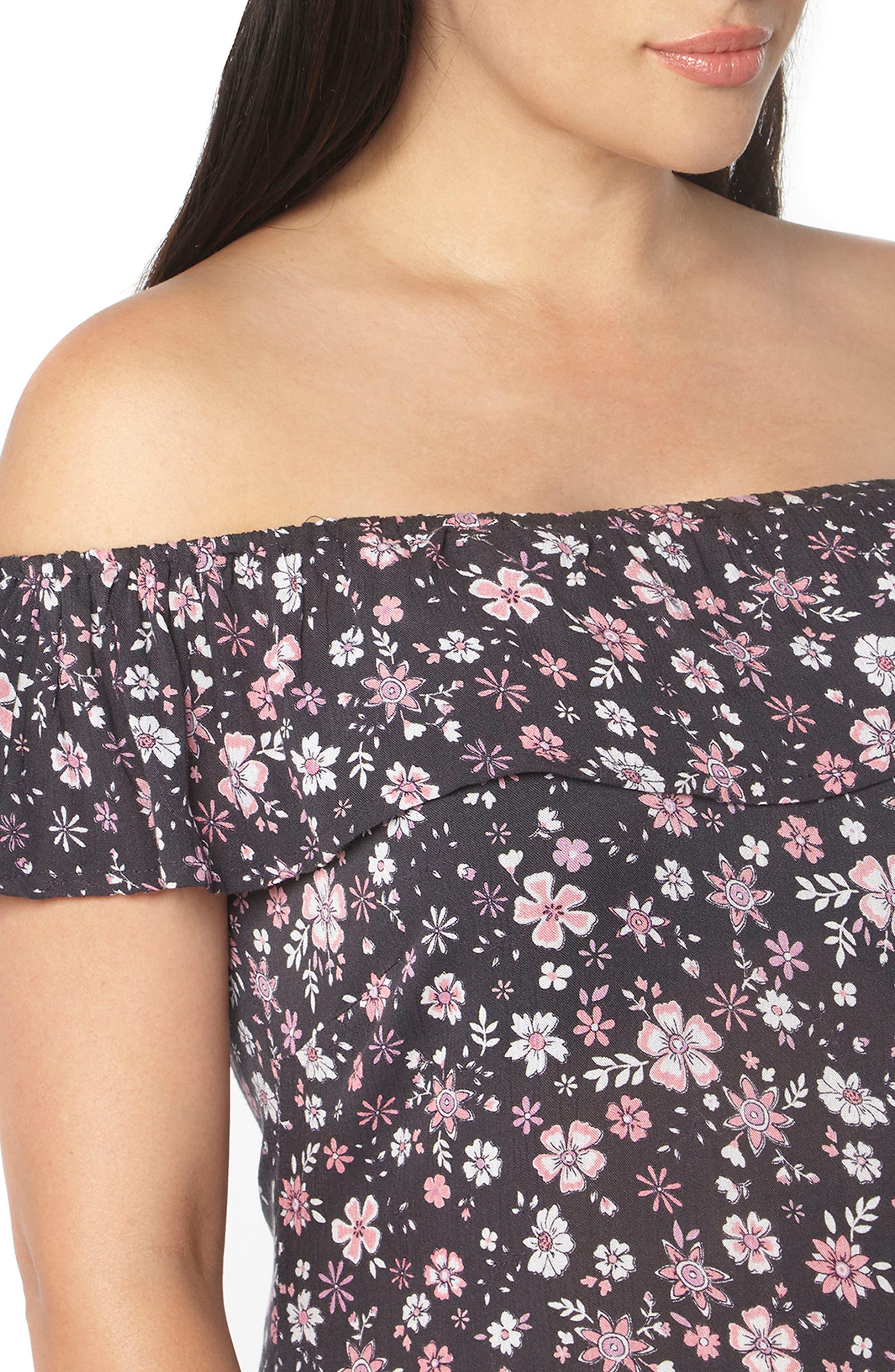 Ditsy Floral Convertible Maxi Dress,                             Alternate thumbnail 3, color,