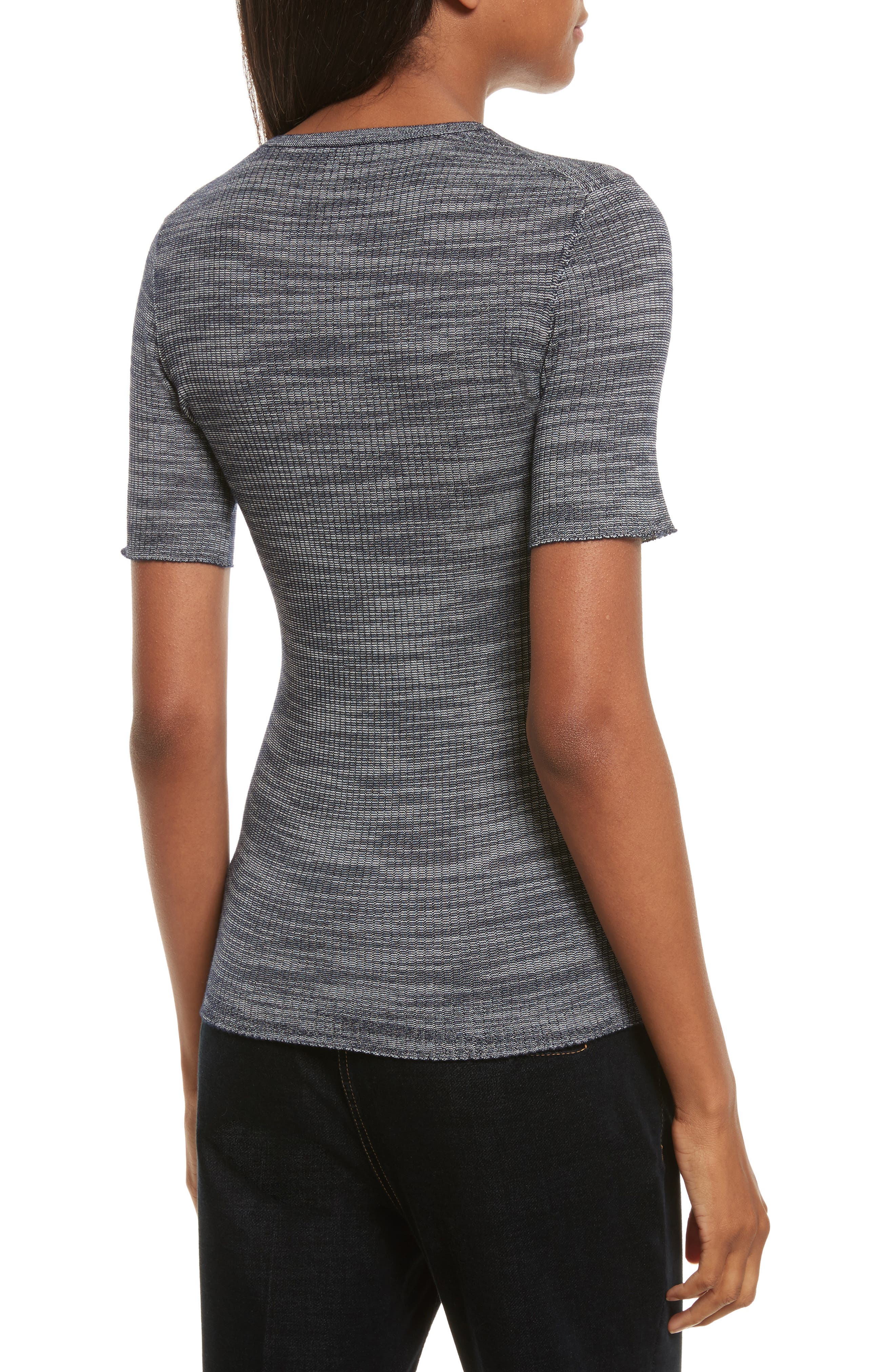Fitted Merino Wool Blend Sweater,                             Alternate thumbnail 4, color,