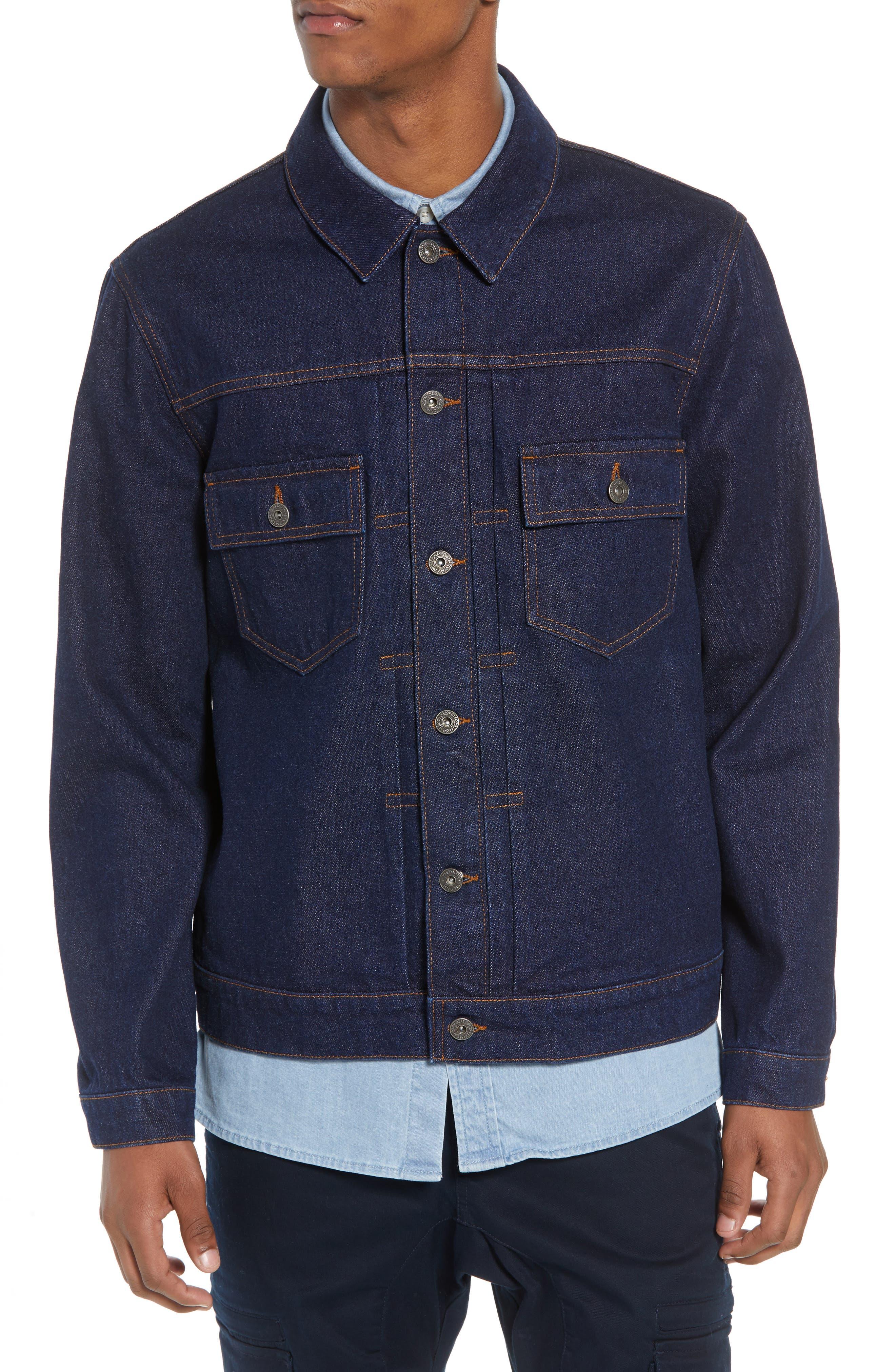 Raw Denim Jacket,                             Alternate thumbnail 4, color,                             DARK BLUE