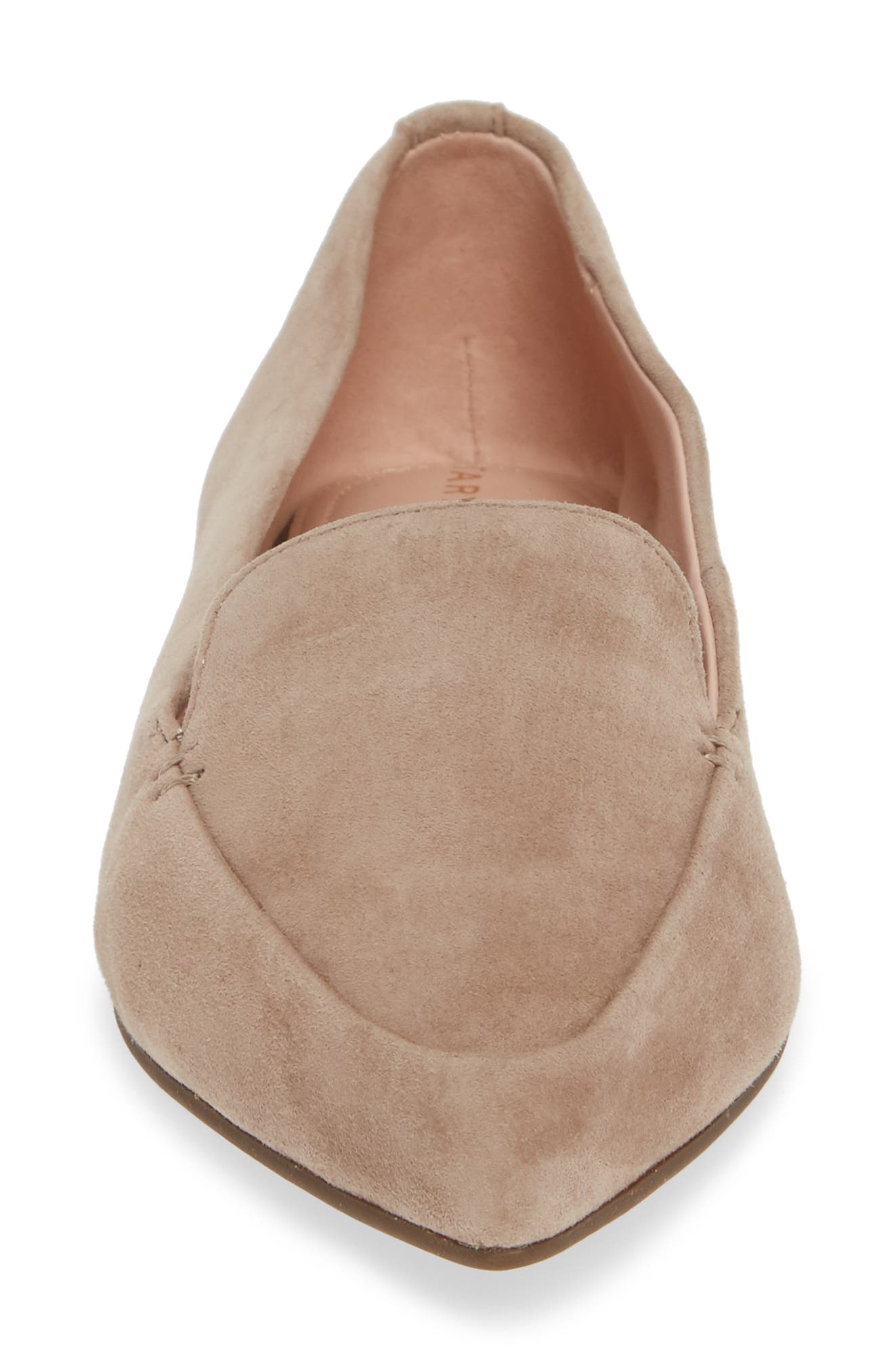 Faye Pointy Toe Loafer,                             Alternate thumbnail 4, color,                             TAUPE SUEDE