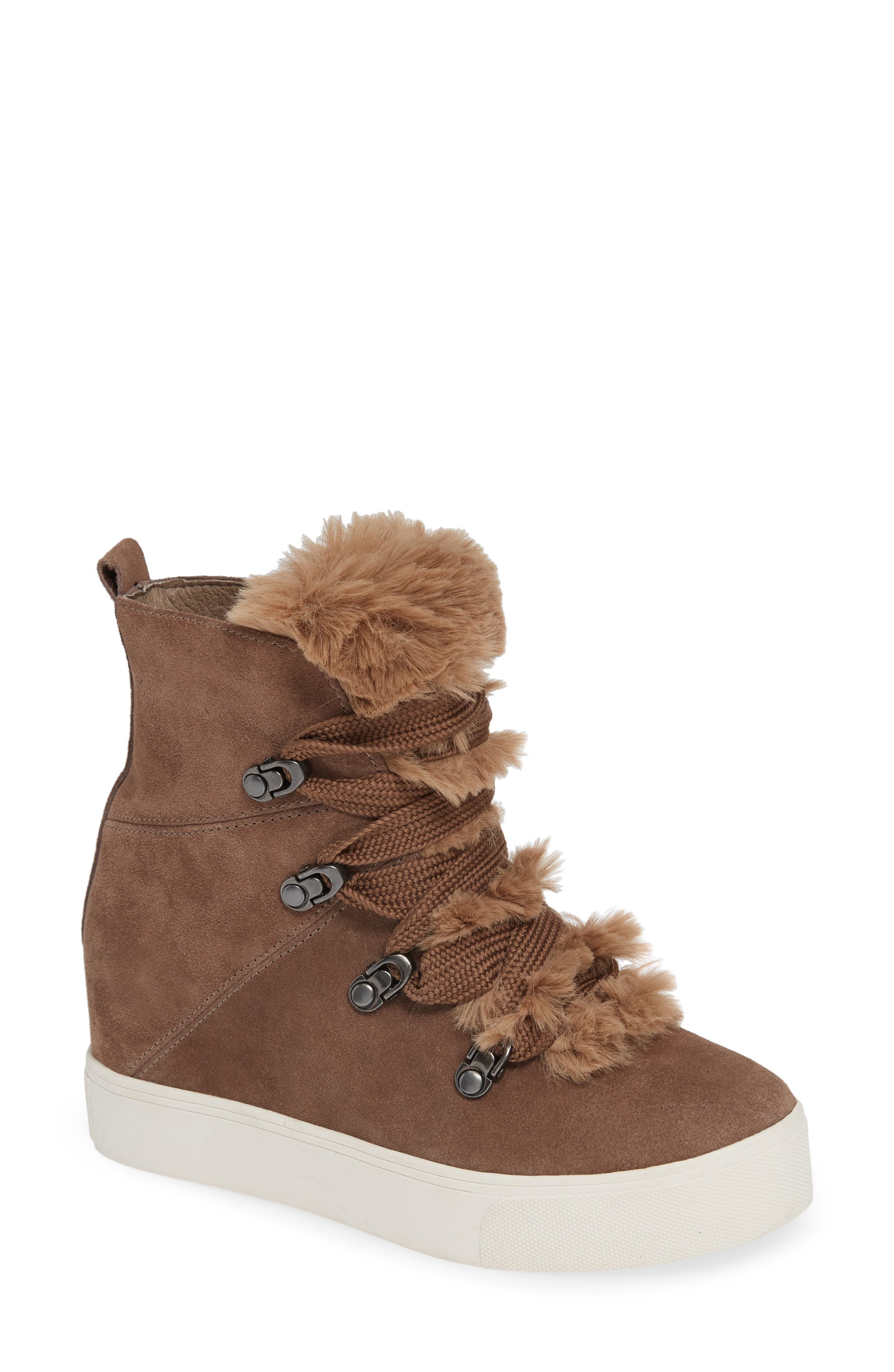 JSLIDES Whitney Faux Fur Trim High Top Sneaker in Taupe Suede