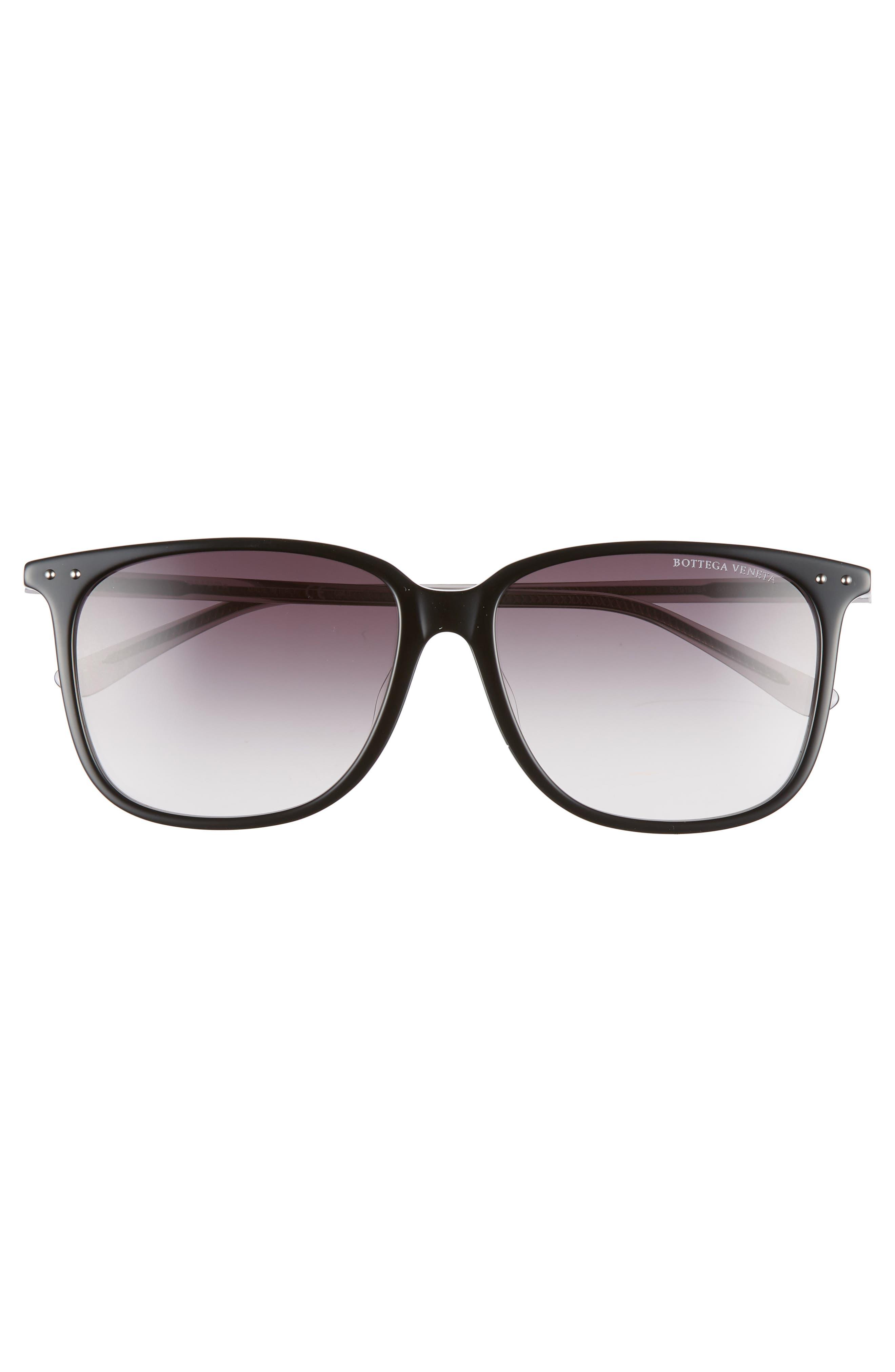 58mm Gradient Square Sunglasses,                             Alternate thumbnail 3, color,                             BLACK/ GREY