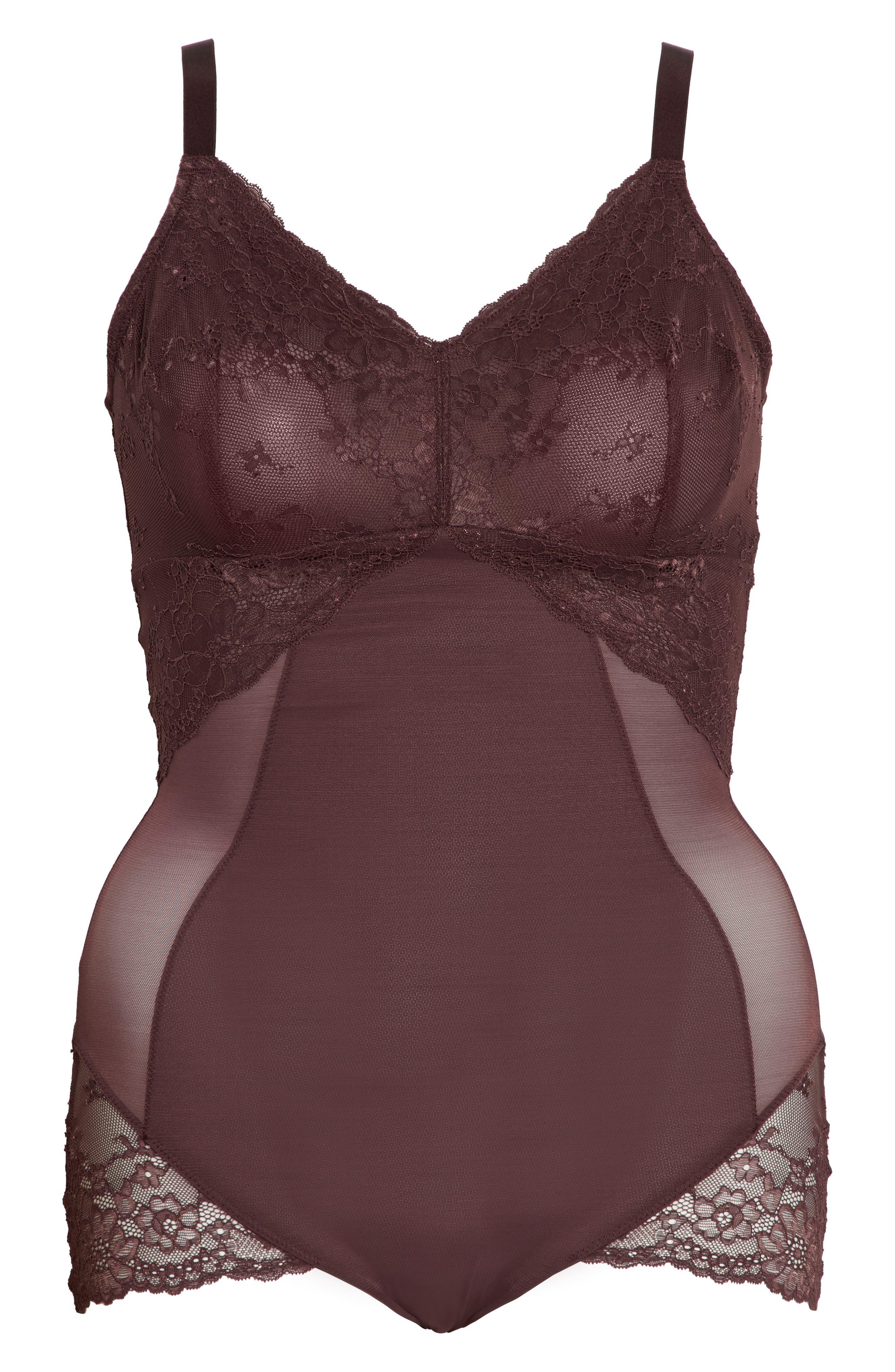 Spotlight On Lace Bodysuit,                             Alternate thumbnail 7, color,                             GARNET