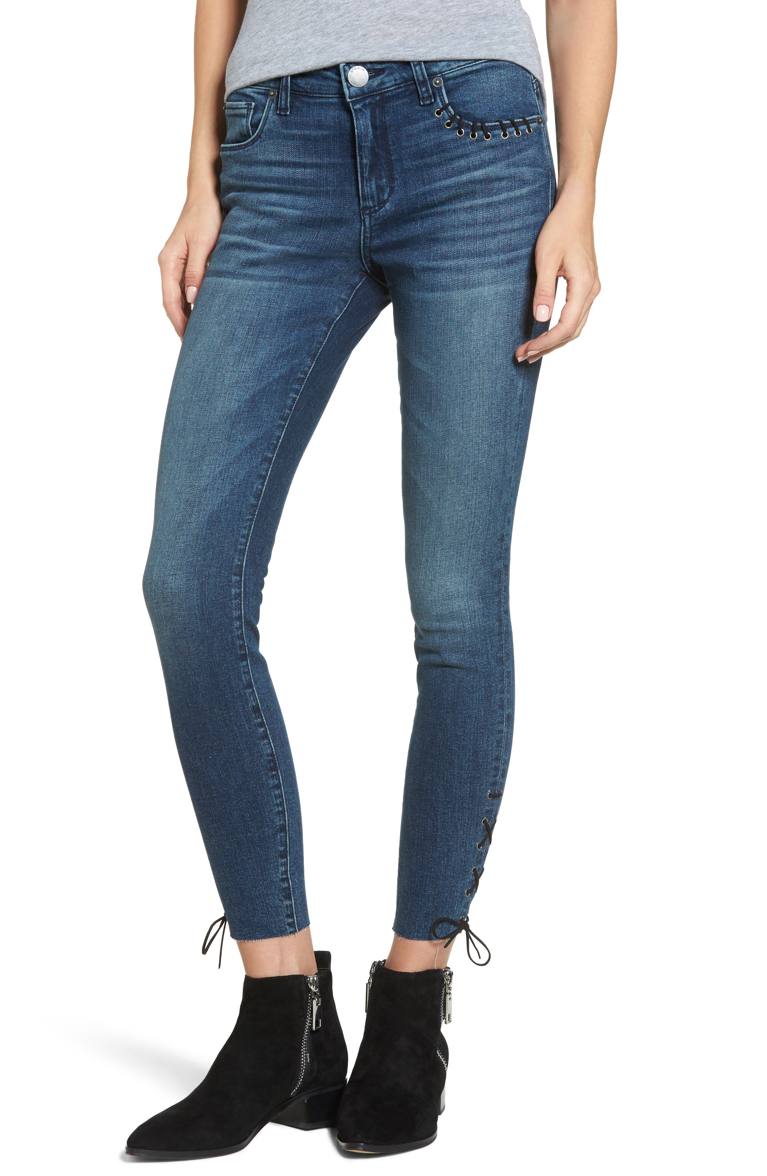 Emma Lace-Up Ankle Skinny Jeans,                             Main thumbnail 1, color,                             400