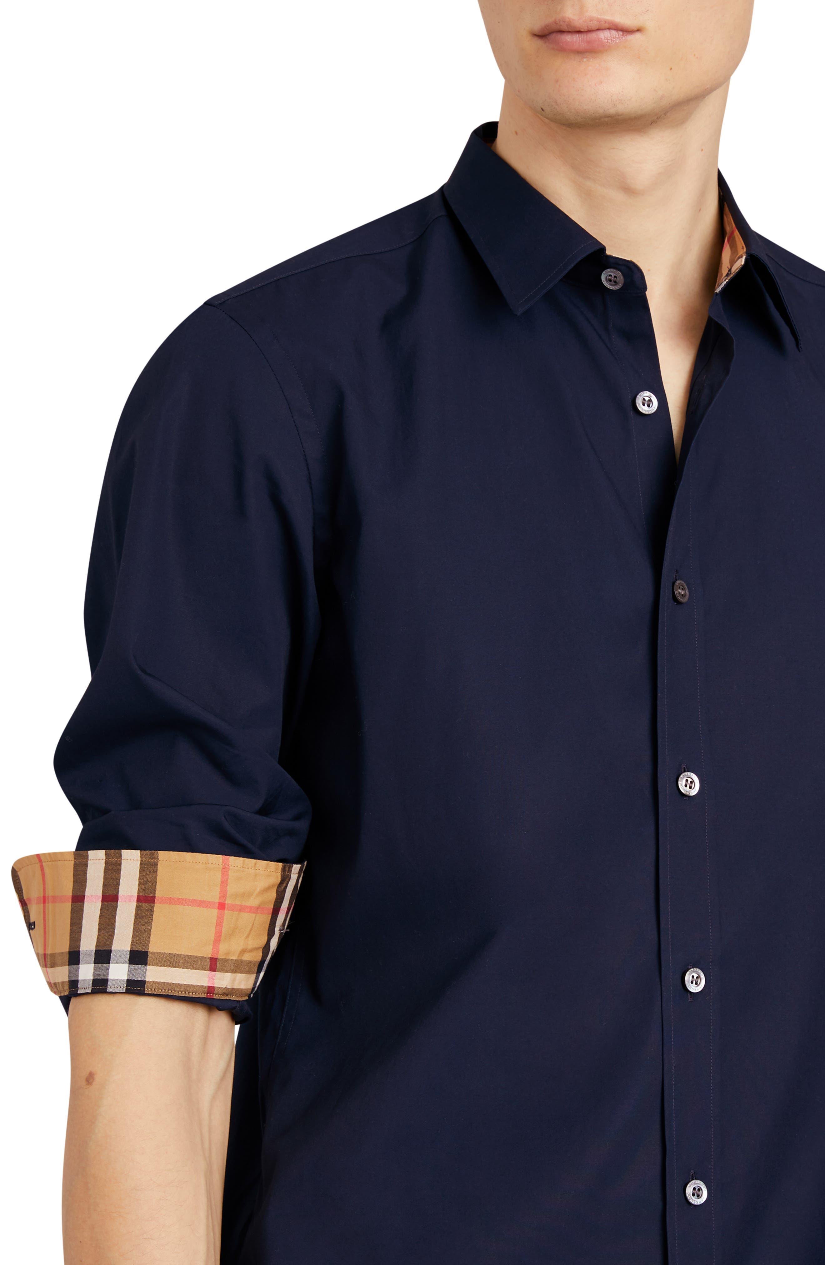 William Stretch Poplin Sport Shirt,                             Alternate thumbnail 2, color,                             NAVY