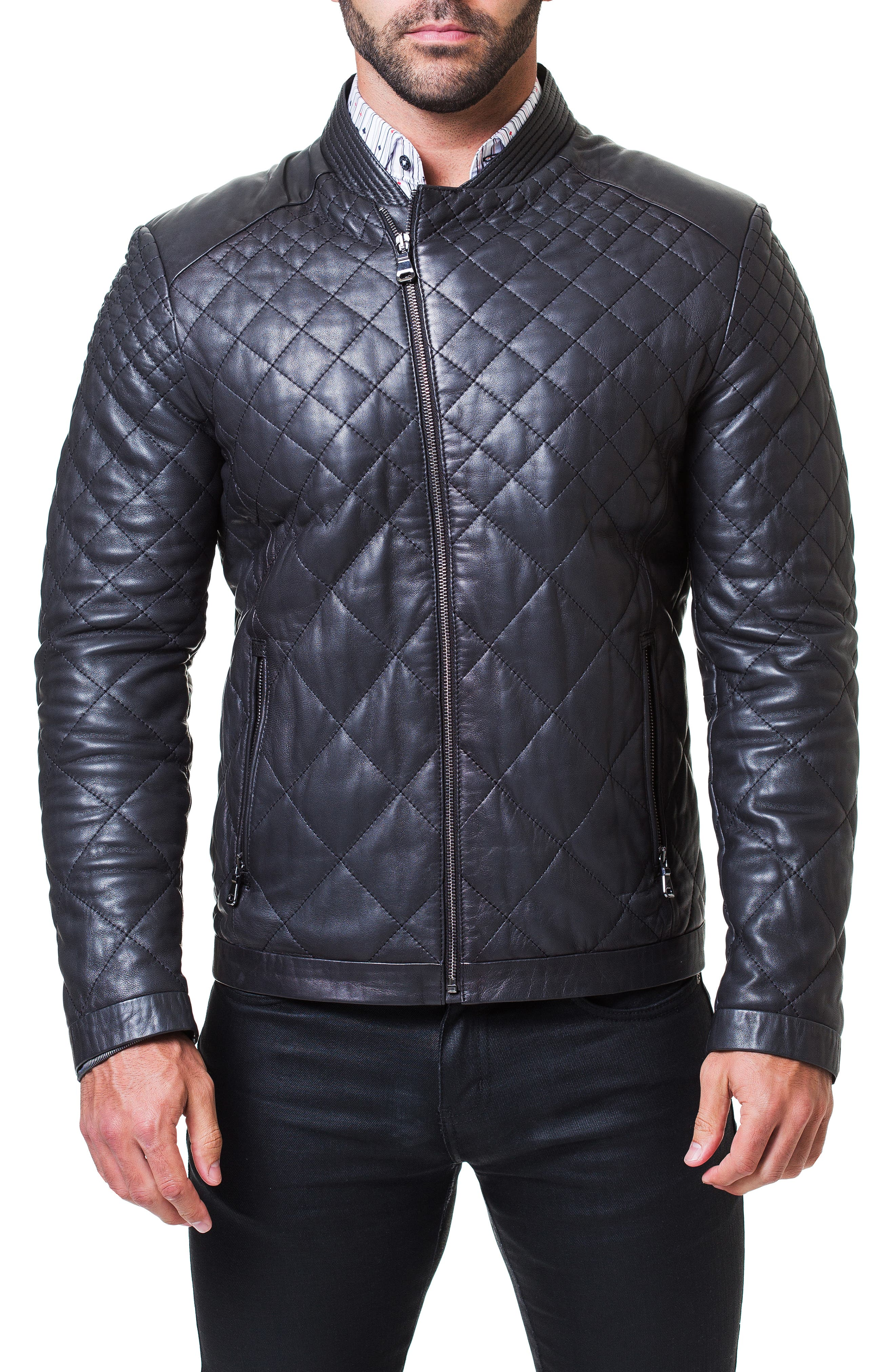 Quilted Leather Jacket,                             Alternate thumbnail 4, color,                             BLACK