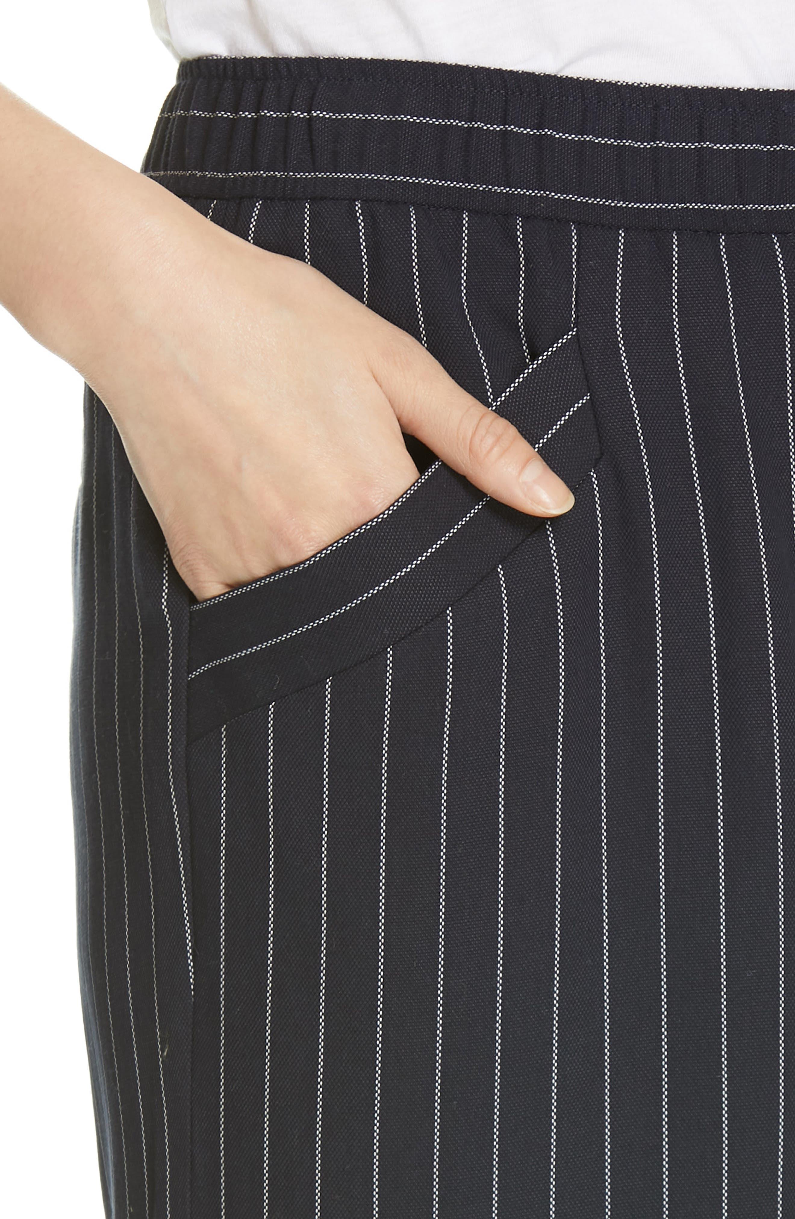 Pinstripe Crop Wide-Leg Pants,                             Alternate thumbnail 4, color,                             INDIGO