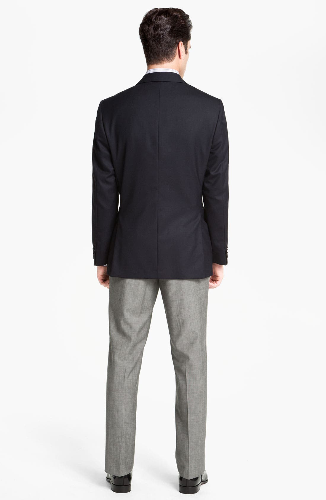 BOSS HUGO BOSS 'Jeffrey US' Flat Front Pinpoint Wool Trousers,                             Alternate thumbnail 6, color,                             022