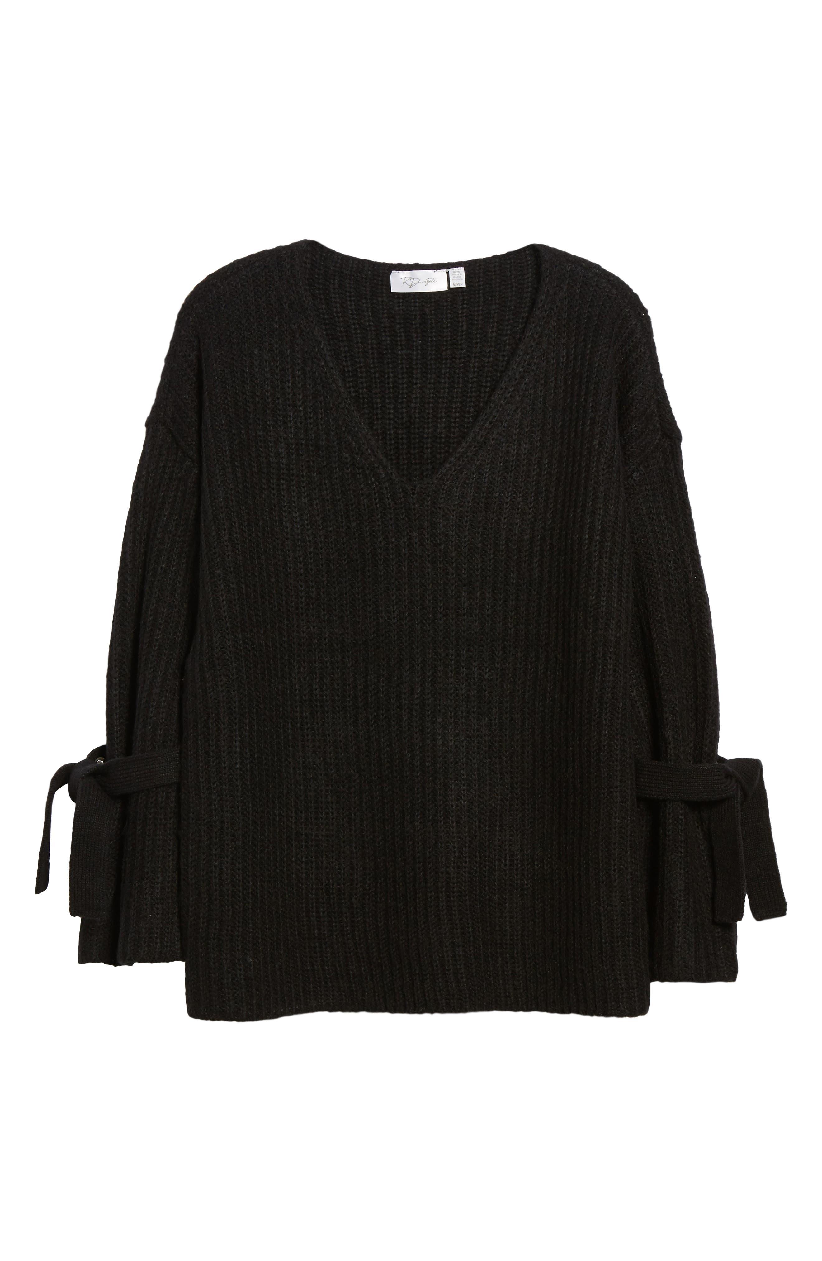 Tie Sleeve Sweater,                             Alternate thumbnail 6, color,                             001