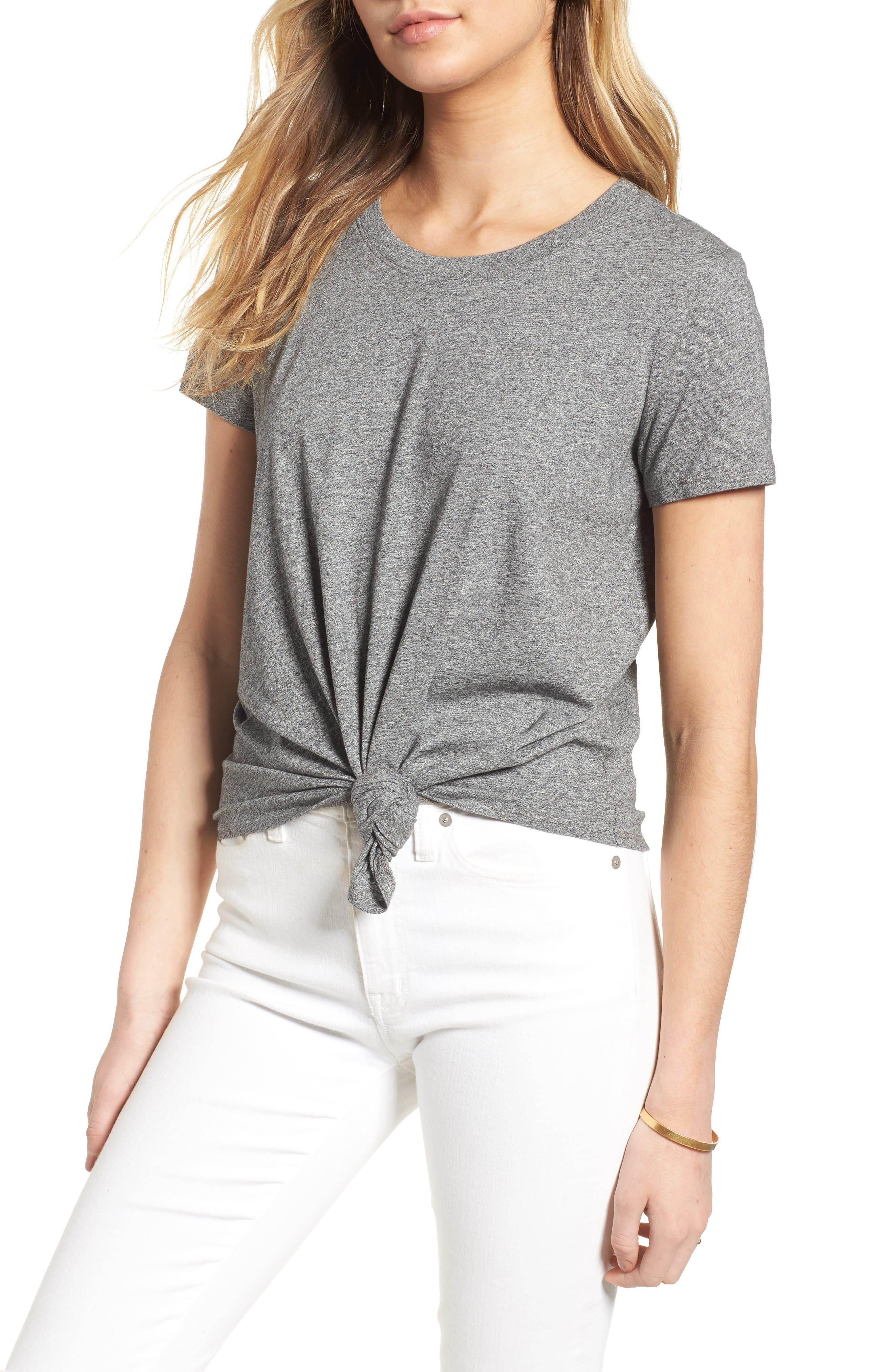Knot Front Tee,                         Main,                         color, HEATHER SHALE