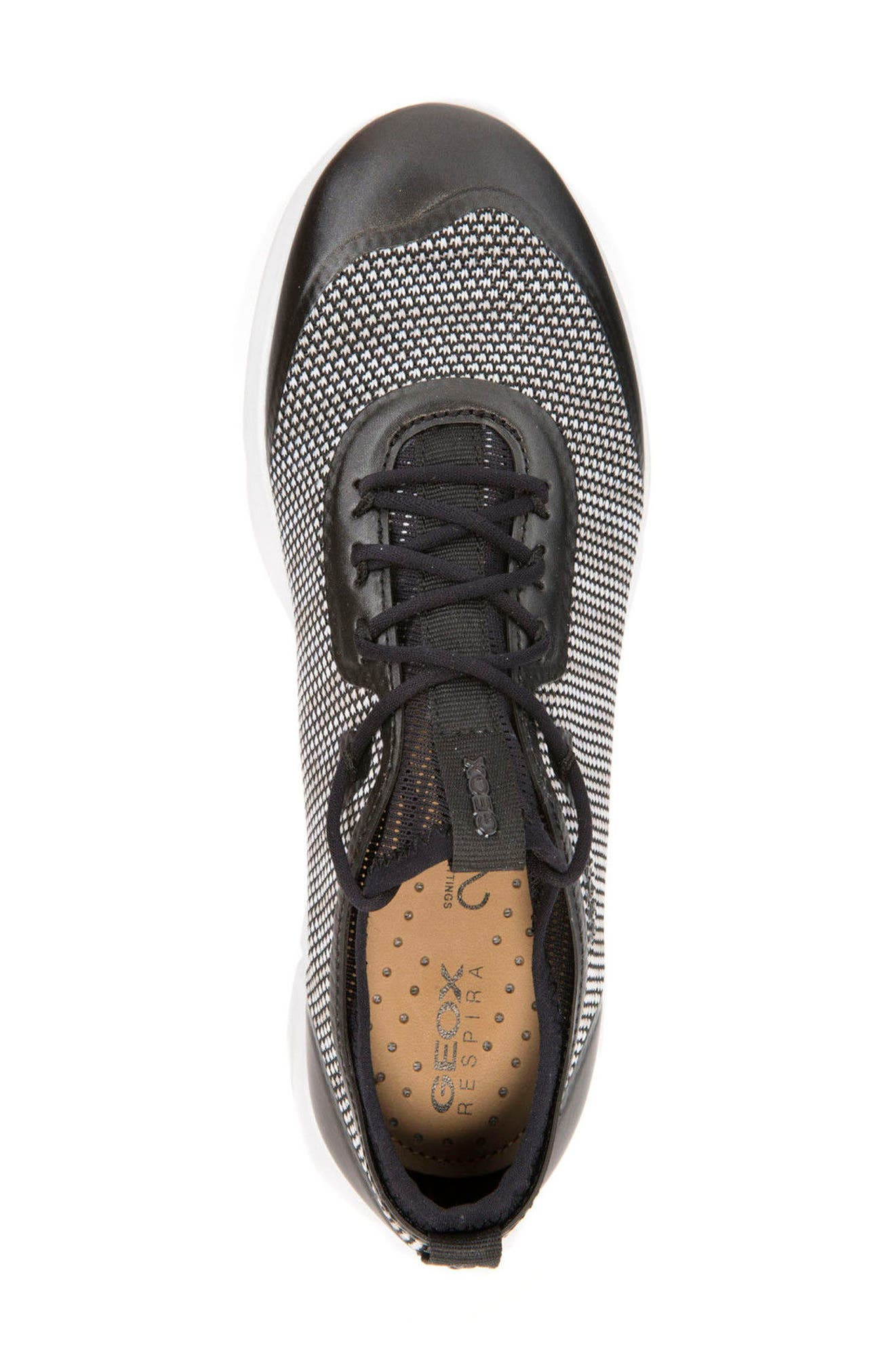 Nebula X Knit Sneaker,                             Alternate thumbnail 4, color,                             BLACK/ WHITE LEATHER