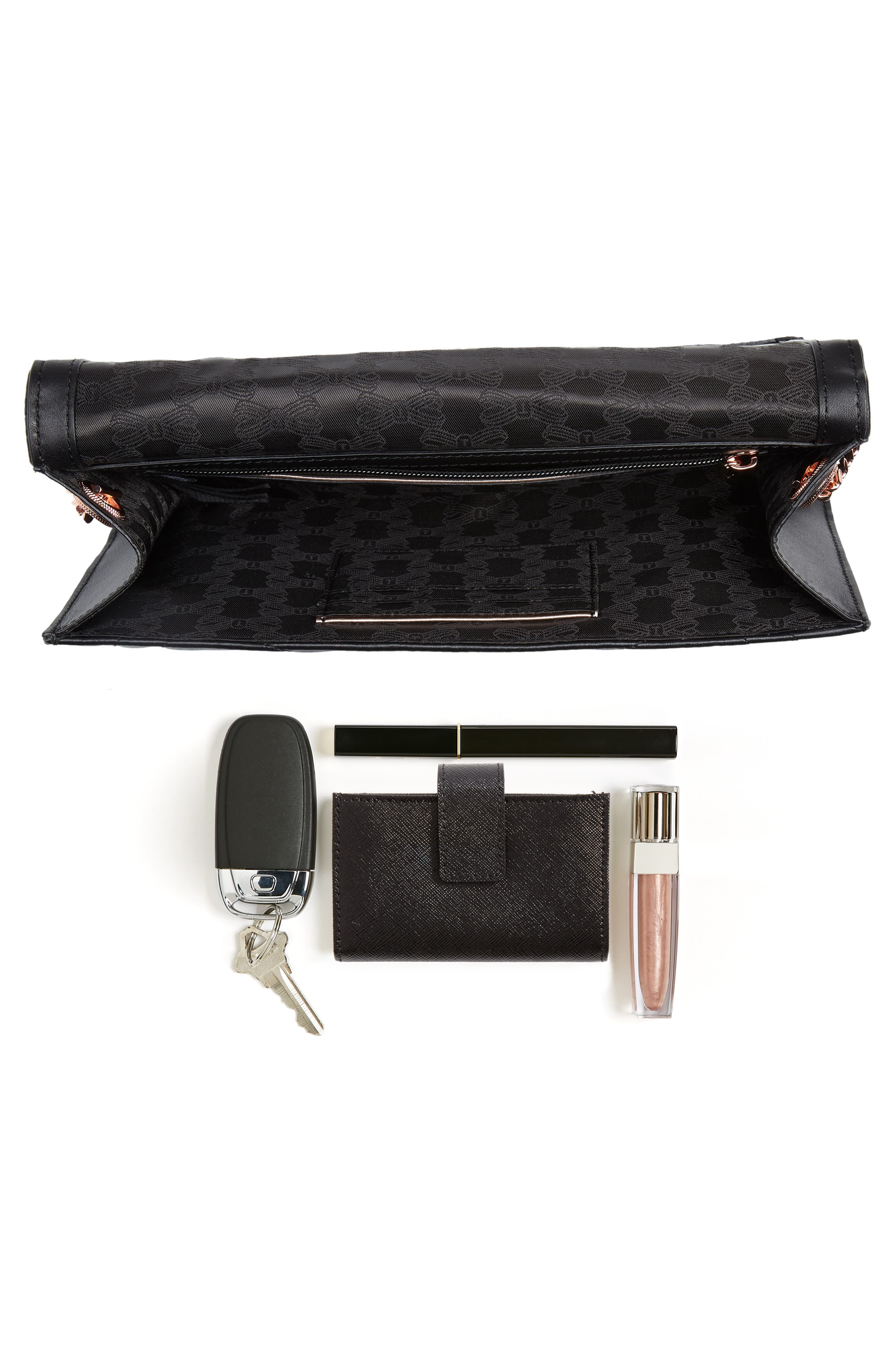 Ciliaa Quilted Bow Leather Clutch,                             Alternate thumbnail 7, color,                             001