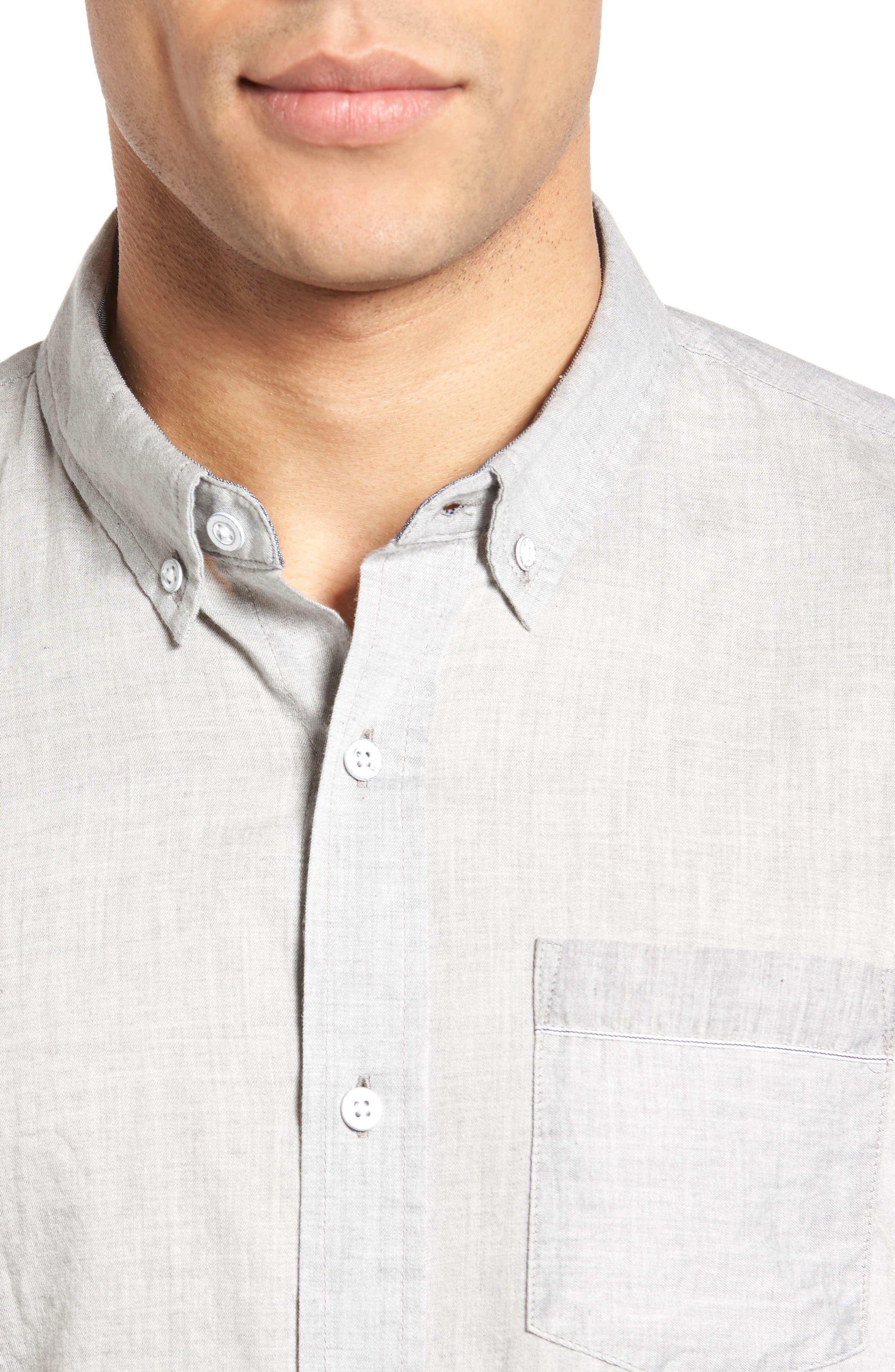 Grady Trim Fit Sport Shirt,                             Alternate thumbnail 4, color,                             022