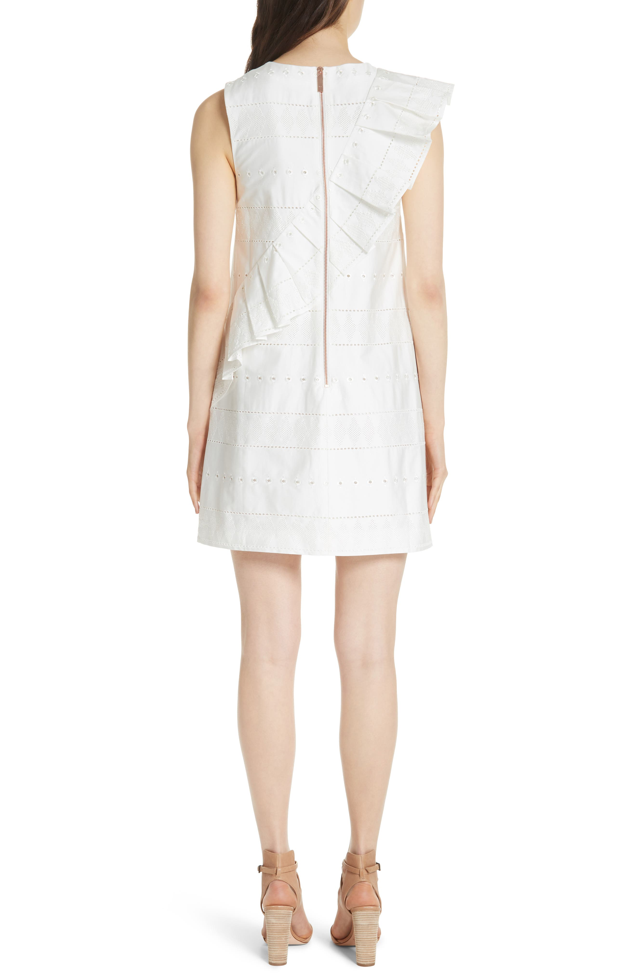 Embroidered Ruffle Stretch Cotton Shift Dress,                             Alternate thumbnail 2, color,                             110